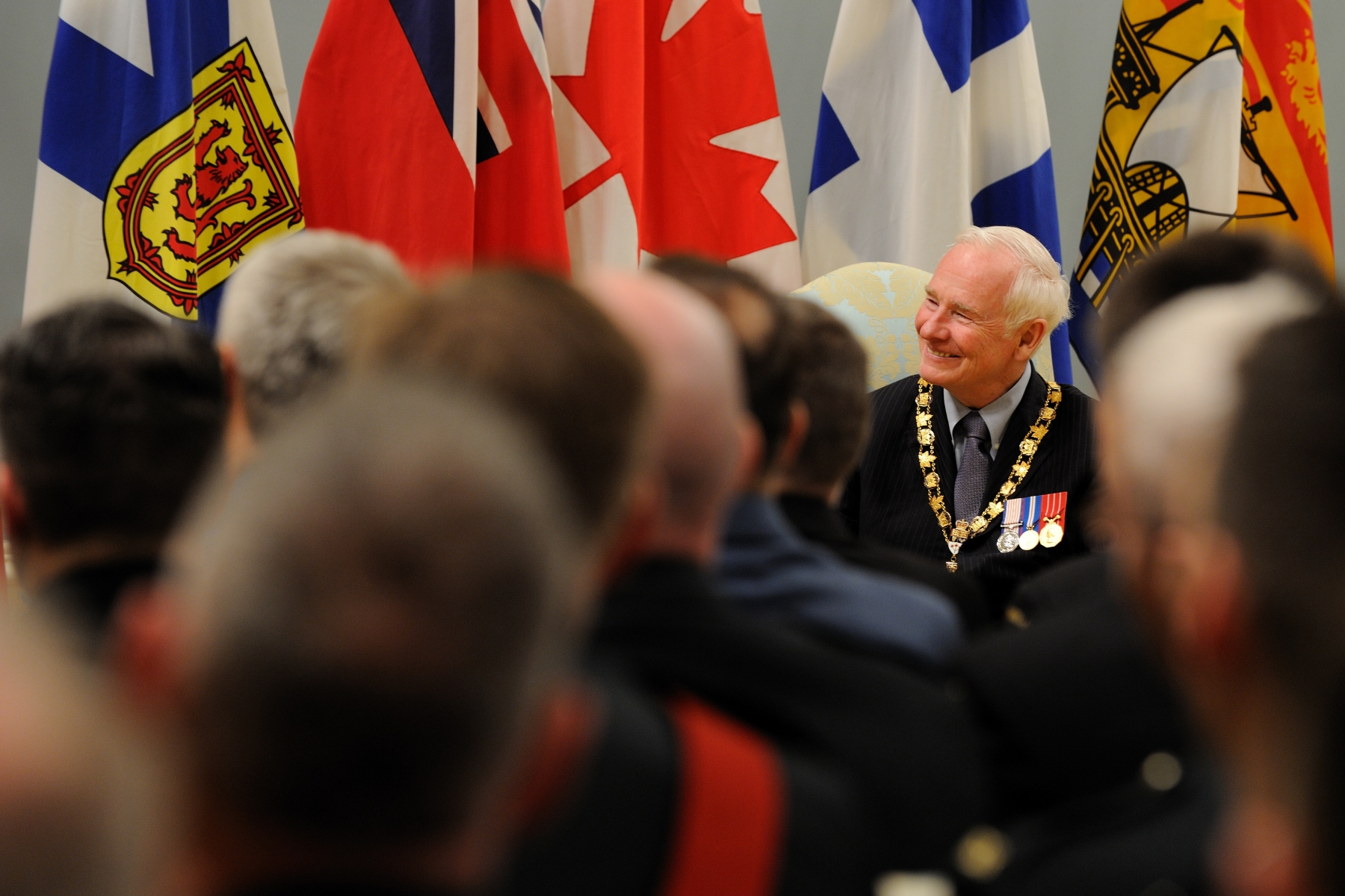 The Governor General and Commander-in-Chief of Canada presided over an Order of Military Merit investiture ceremony at Rideau Hall, on March 11, 2011. He bestowed the honour on two Commanders, 13 Officers and 41 Members.