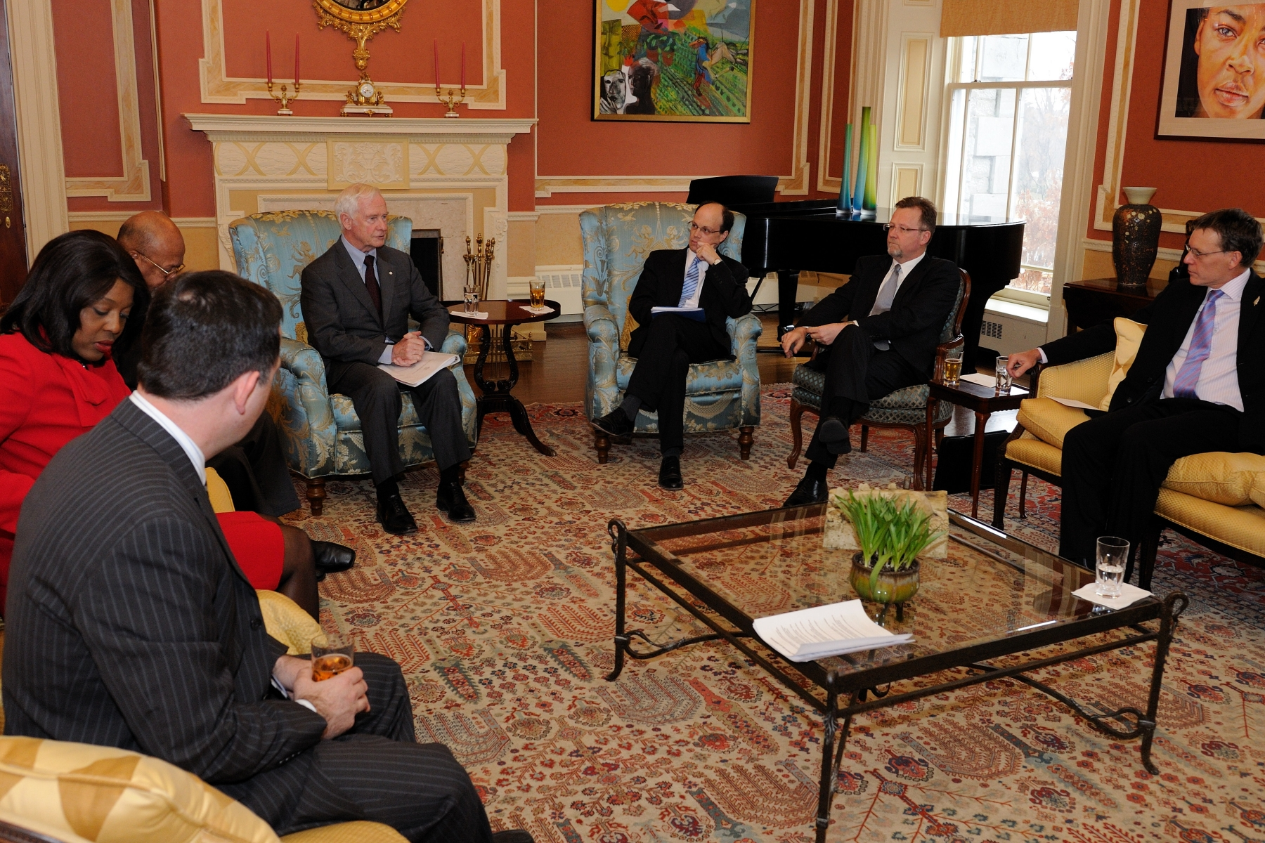 The meeting was held in the Large Drawing room inside the official residence.