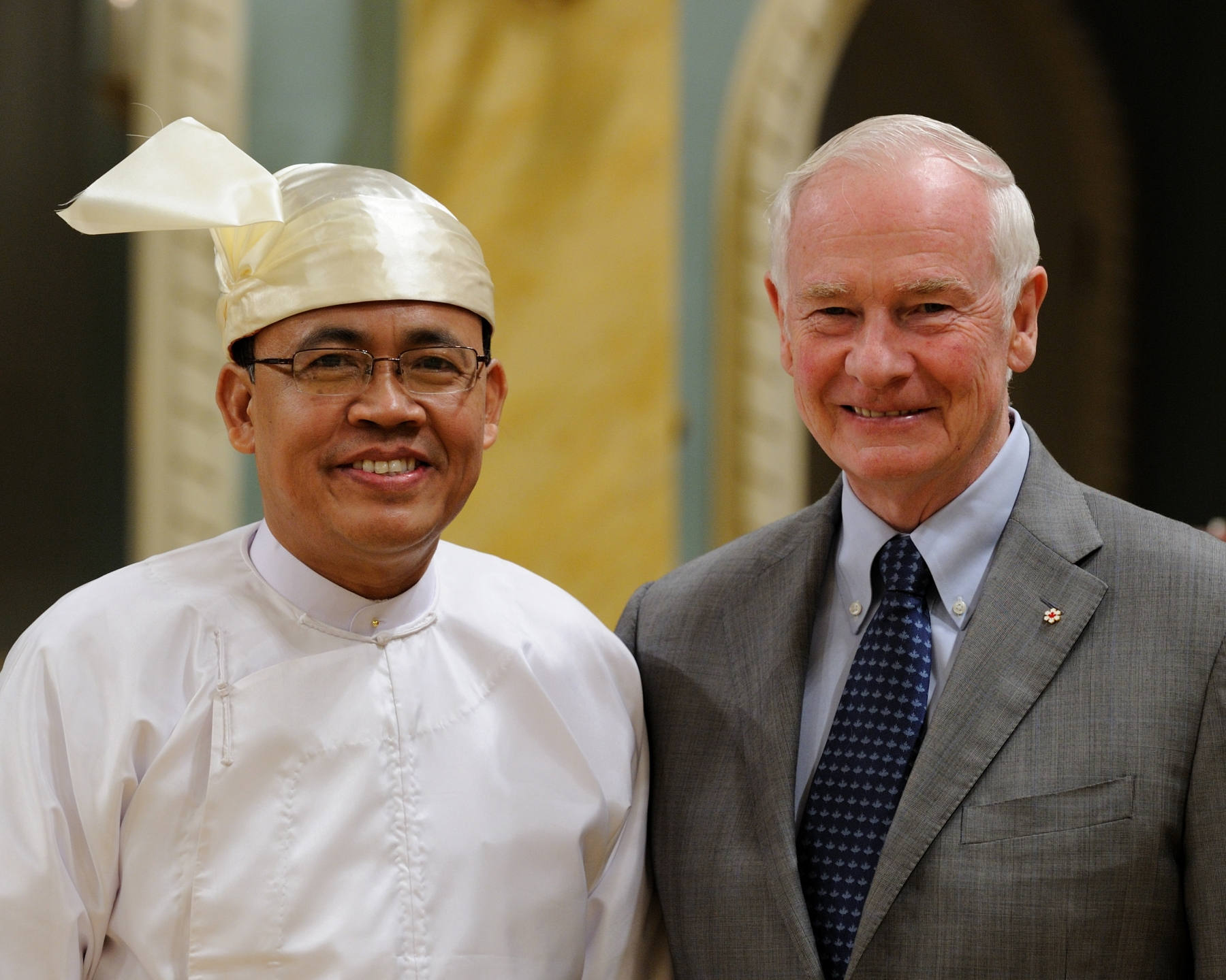 The Governor General received the credentials of His Excellency Kyaw Tin, Ambassador of the Republic of the Union of Myanmar.