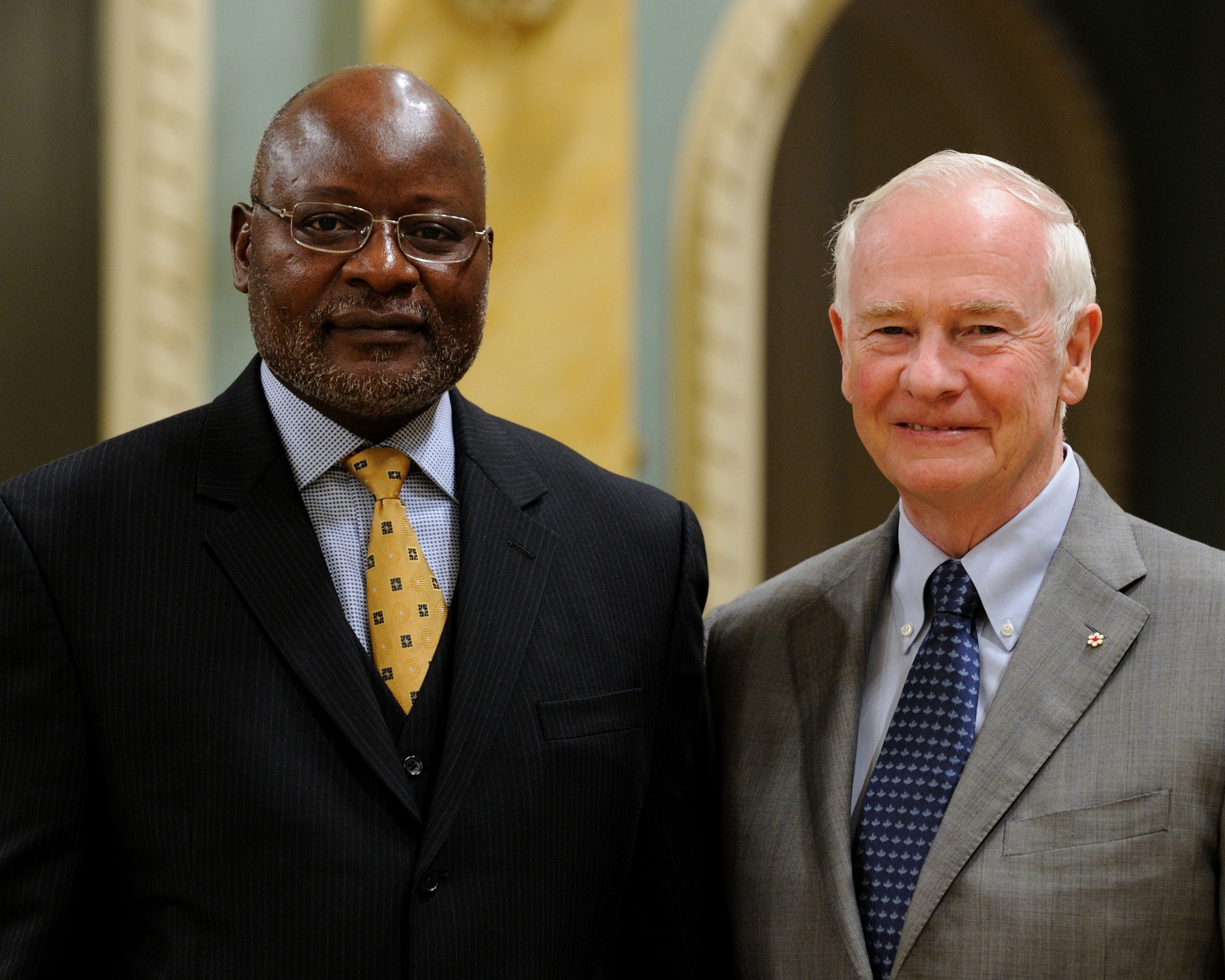 The Governor General received the credentials of His Excellency Martin Andjaba, High Commissioner-designate of the Republic of Namibia.