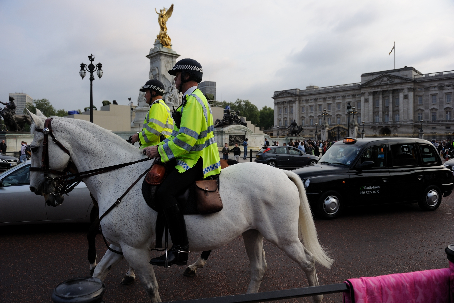 Security patrolling the Buckingham Palace surroundings.