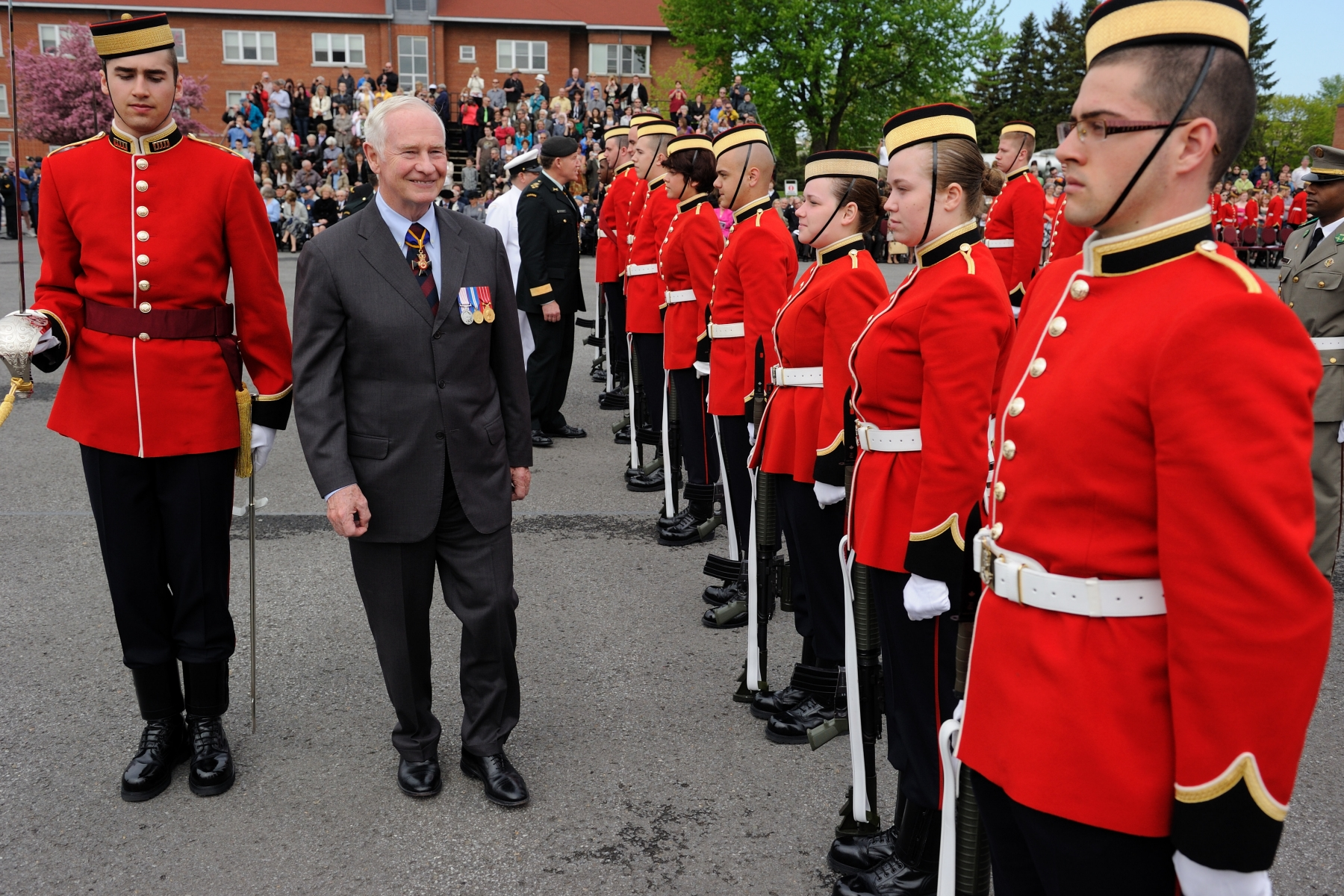 The Governor General of Canada visited Saint-Jean-sur-Richelieu, Quebec, on Saturday, May 21, 2011. During this visit, he officiated at a ceremony to consecrate and present The Queen's colours and those of the Royal Military College Saint-Jean (RMC Saint-Jean).