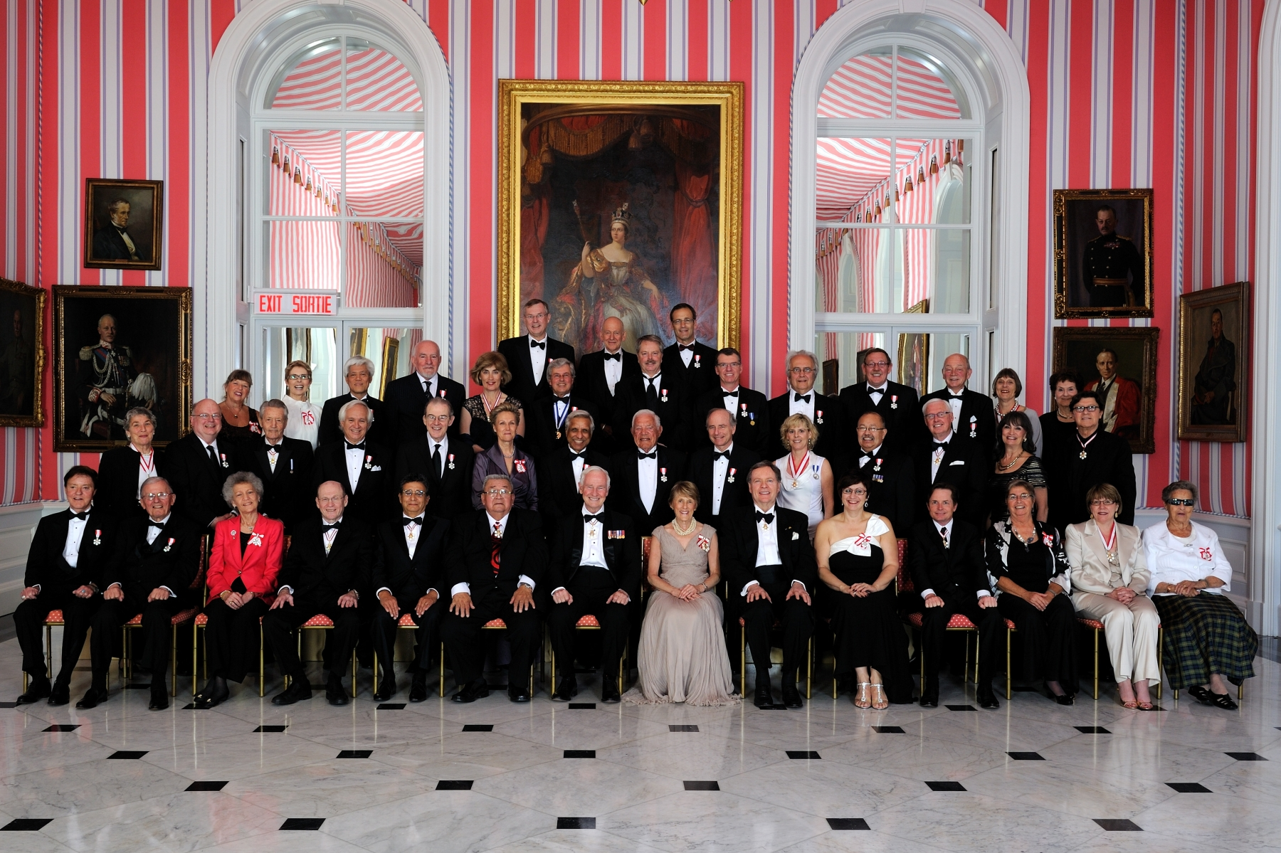 Their Excellencies are pictured with the 43 recipients who were invested into the Order of Canada on May 27, 2011.