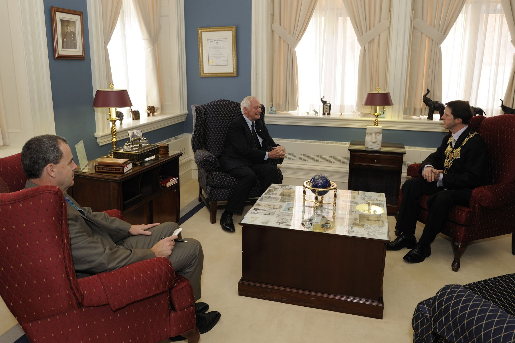 The Secretary to the Governor General Mr. Stephen Wallace (left) also attended the meeting.
