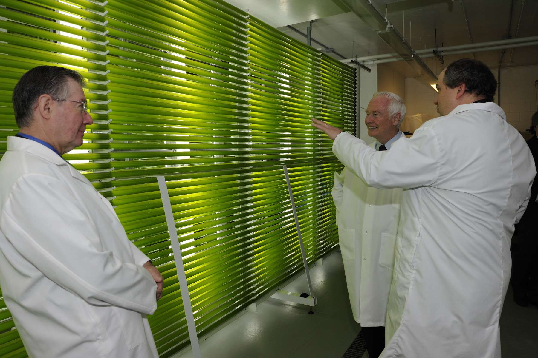 His Excellency attended a presentation by Dr. Stephen O'Leary, a research officer with the National Research Council of Canada Institute for Marine Biosciences (NRC-IMB). Dr. O'Leary is the program leader for Establishing a Canadian Capacity to Produce Biofuels from Marine Algae, a project under NRC National Bioproducts Program. The Governor General also had the opportunity to tour the algal biorefinery with lead scientist Dr. Patrick McGinn.