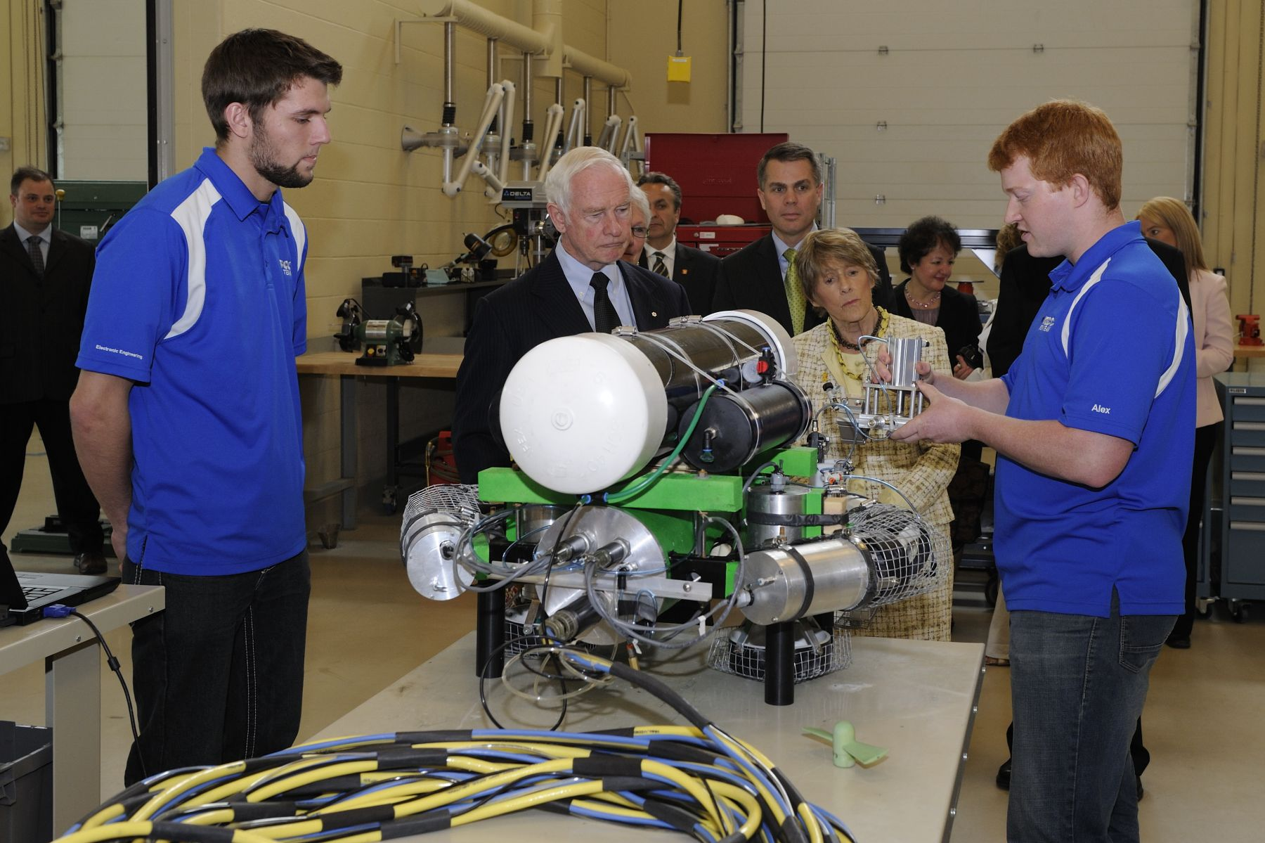 During the tour of the College, Their Excellencies engaged with students from the Centre for the Built Environment (CBE), an example of restorative building design, which blends elements of the 'natural' and 'built' environments to ensure the building and its operations do not contribute to environmental harm. The CBE focuses on creating learning environments that enable students to collaborate on projects, see first-hand how building systems function, and access the latest in alternative energy technologies.