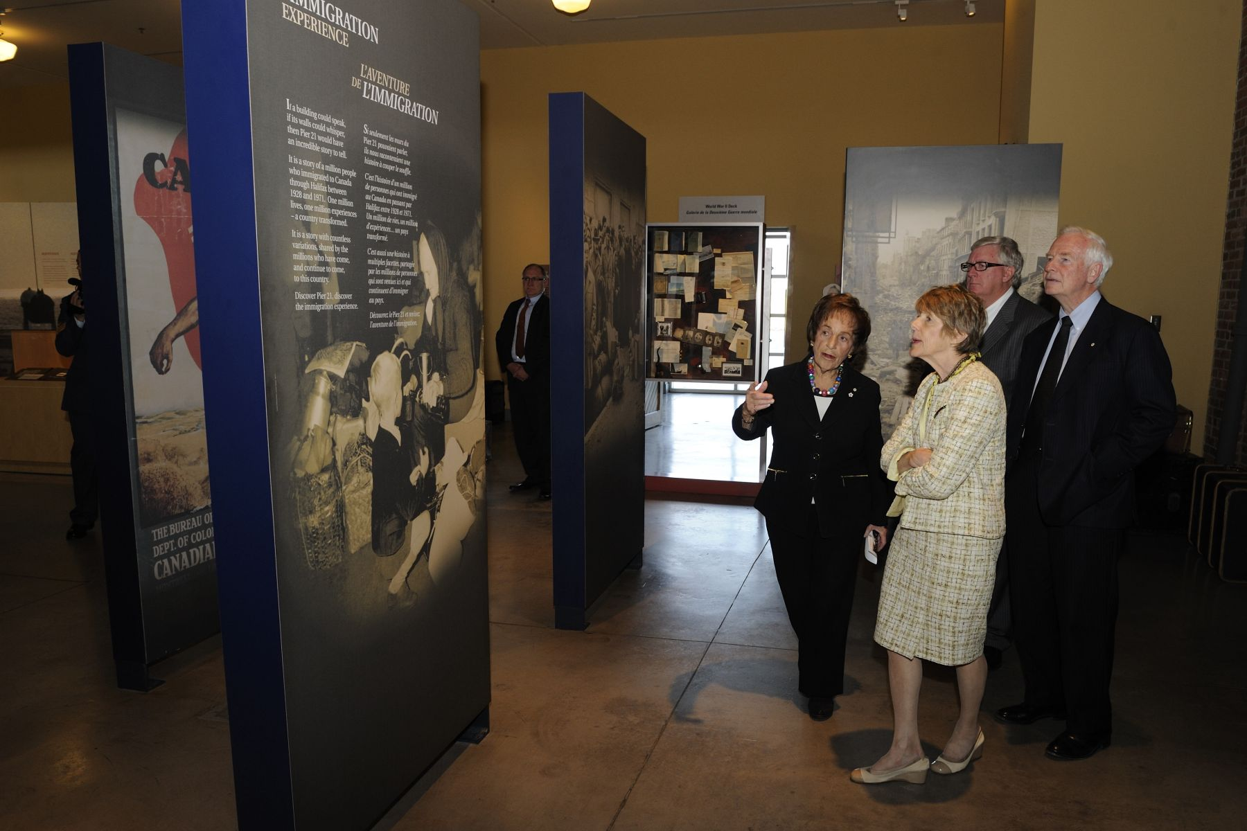 Their Excellencies also visited the Canadian Museum of Immigration at Pier 21. They were greeted by a members of the museum's board of trustees, Mrs. Ruth Goldbloom, and Mr. John Oliver.