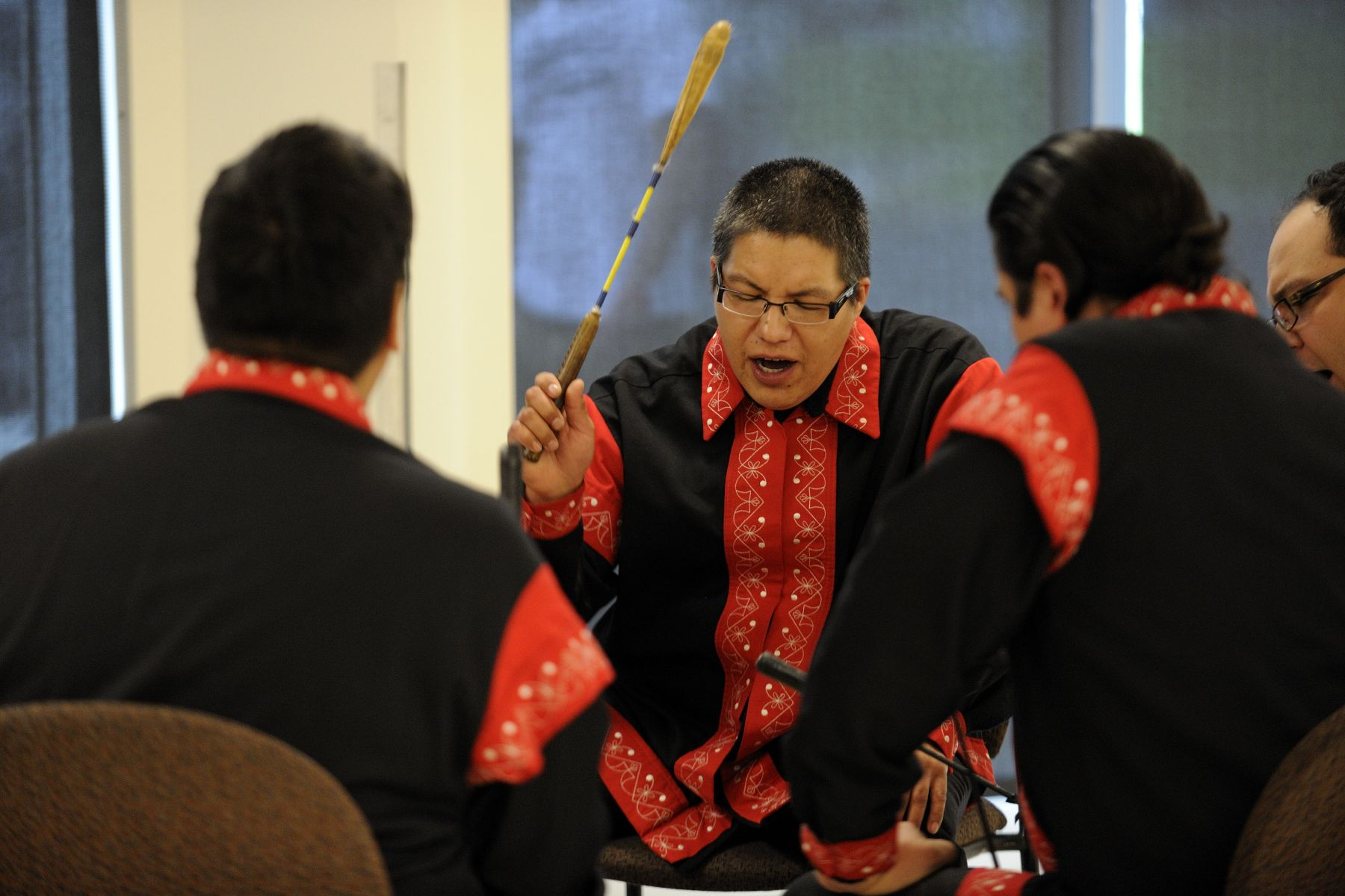Their Excellencies listened to a Mi'kmaq honour song performed by the Sons of Membertou.