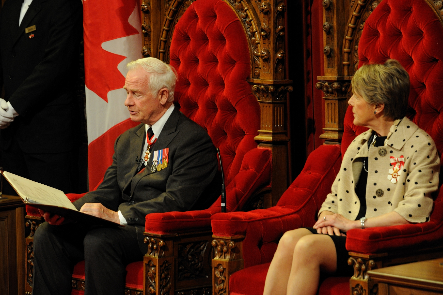 Her Excellency Sharon Johnston was in attendance for the lecture. Each new session of Parliament begins with a Speech from the Throne, which officially opens the session. Until the Speech is delivered, no public business may be conducted by either the Senate or the House of Commons.