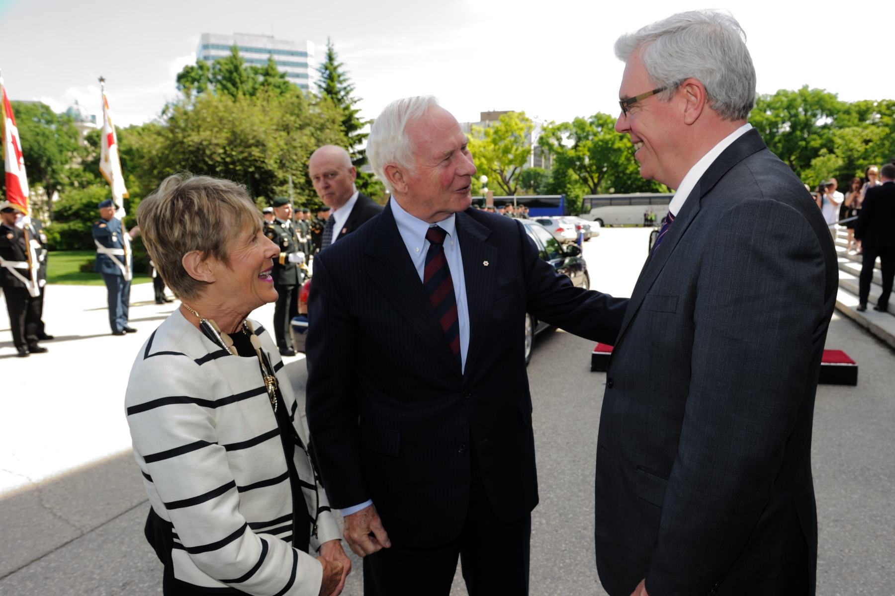 Upon their arrival in Winnipeg, Their Excellencies were greeted by the Honourable Greg Selinger, Premier of Manitoba.