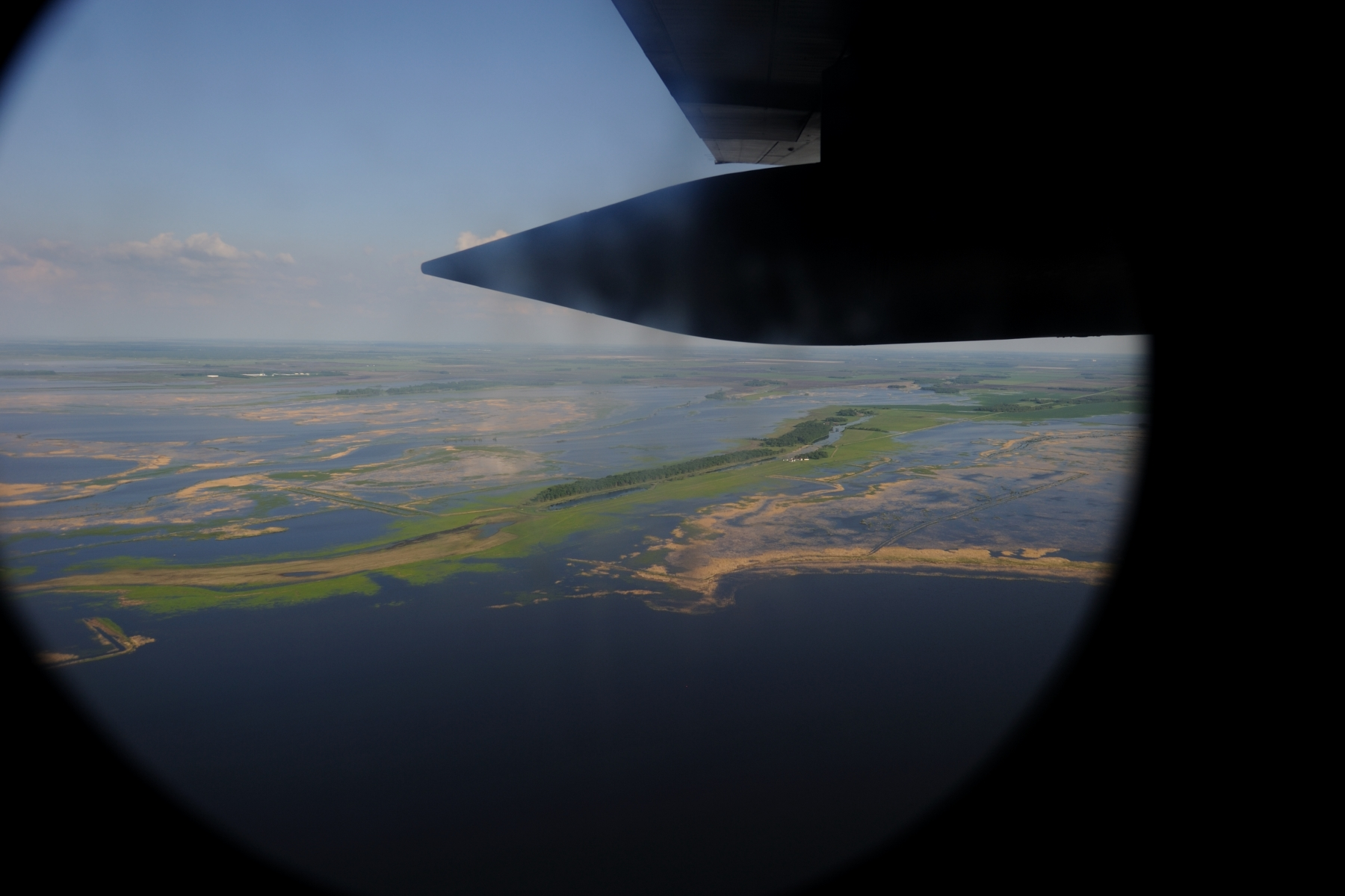 Aerial visual of the floodwaters along the Red River Floodway in Manitoba.