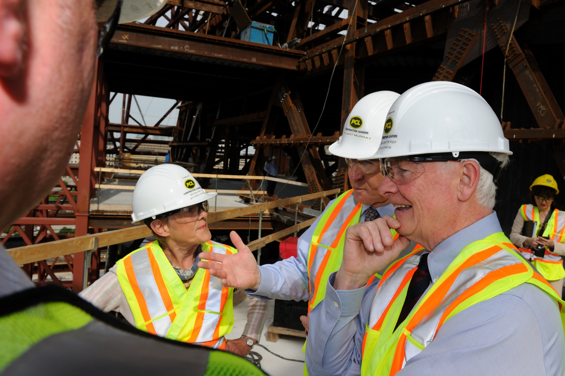 During the second day of their official visit to Manitoba, Their Excellencies visited the Canadian Museum of Human Rights, currently under construction.