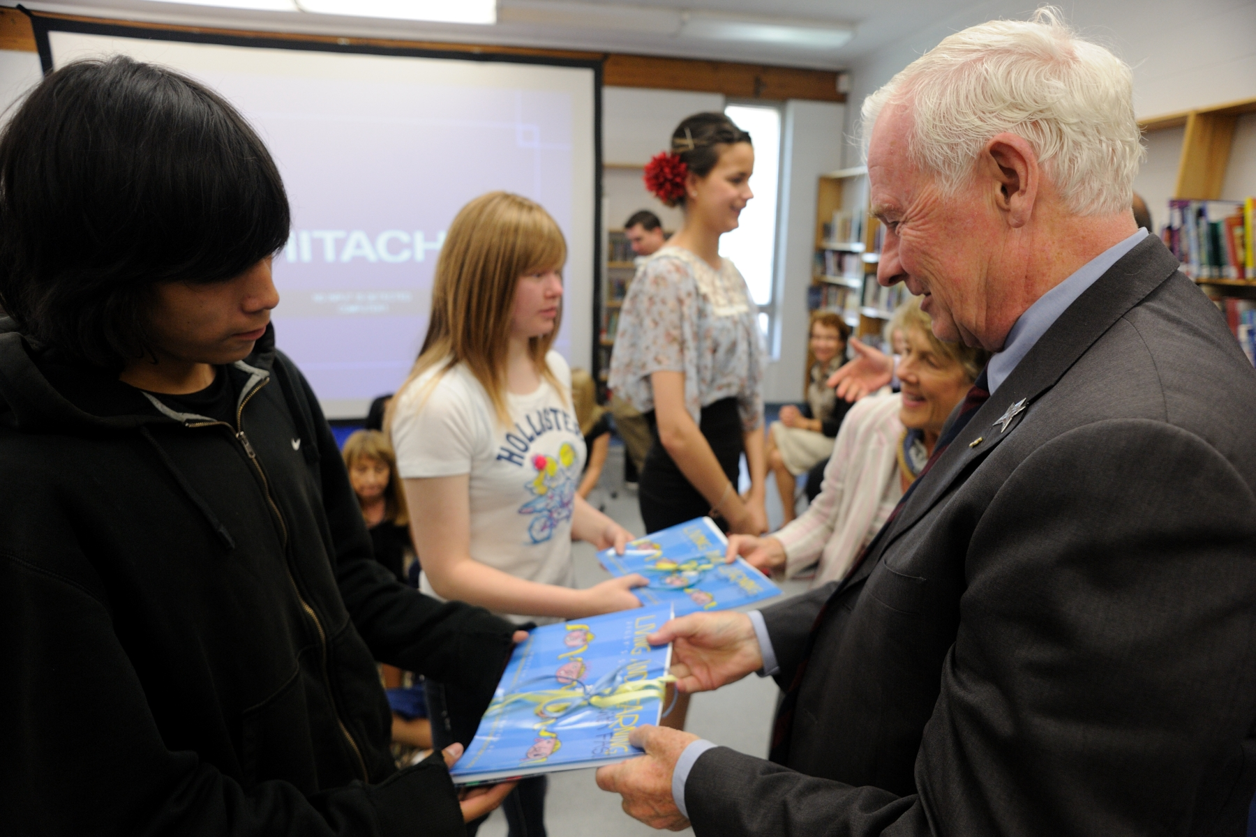 Their Excellencies met with students of the Intermediate Bridges FASD Program in the school library to discuss their experiences, successes and challenges of living with FASD.