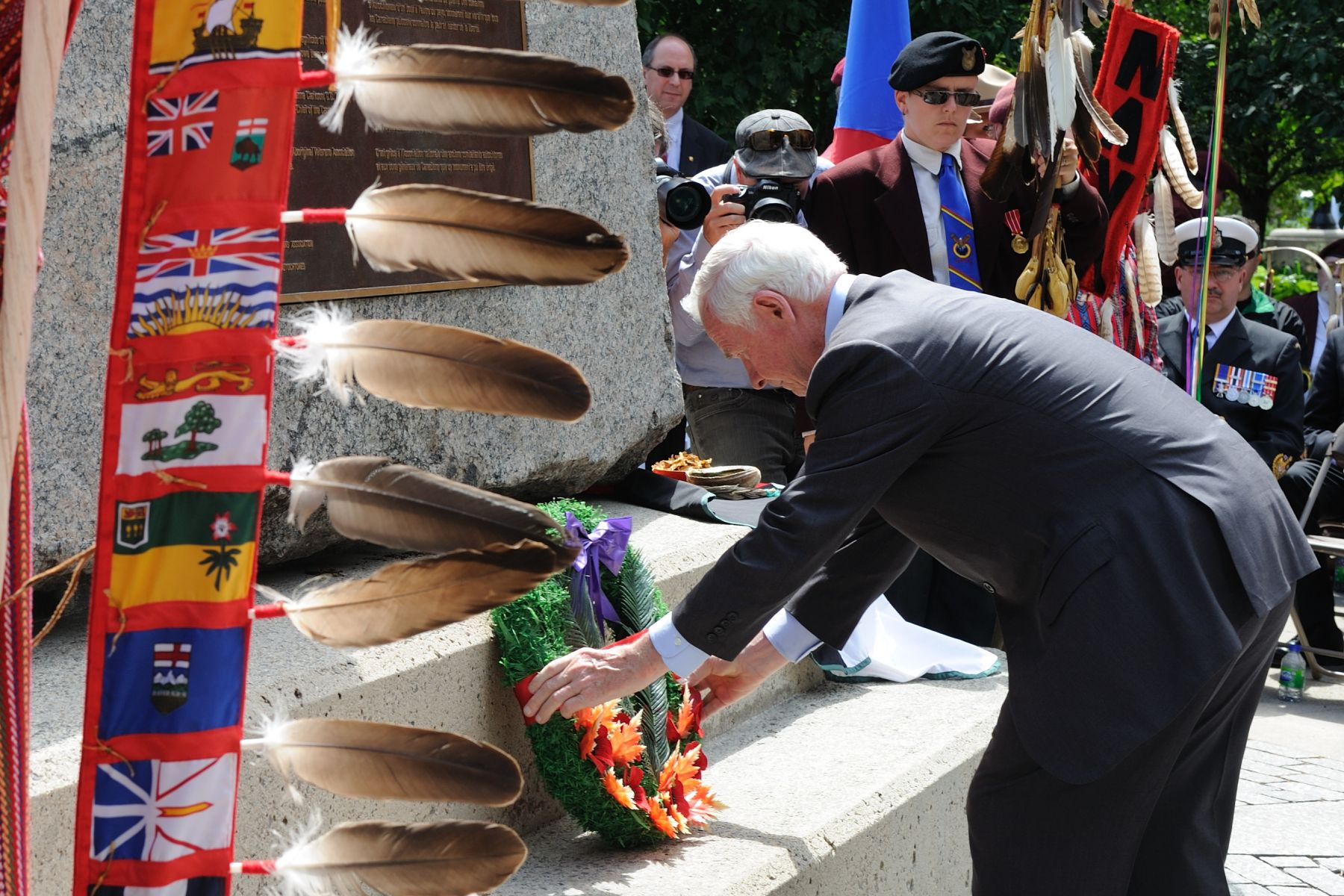 The monument and commemorative ceremony honour the contributions of thousands of Aboriginal veterans who gave their lives for their country, and all those who have served throughout Canada's military history.