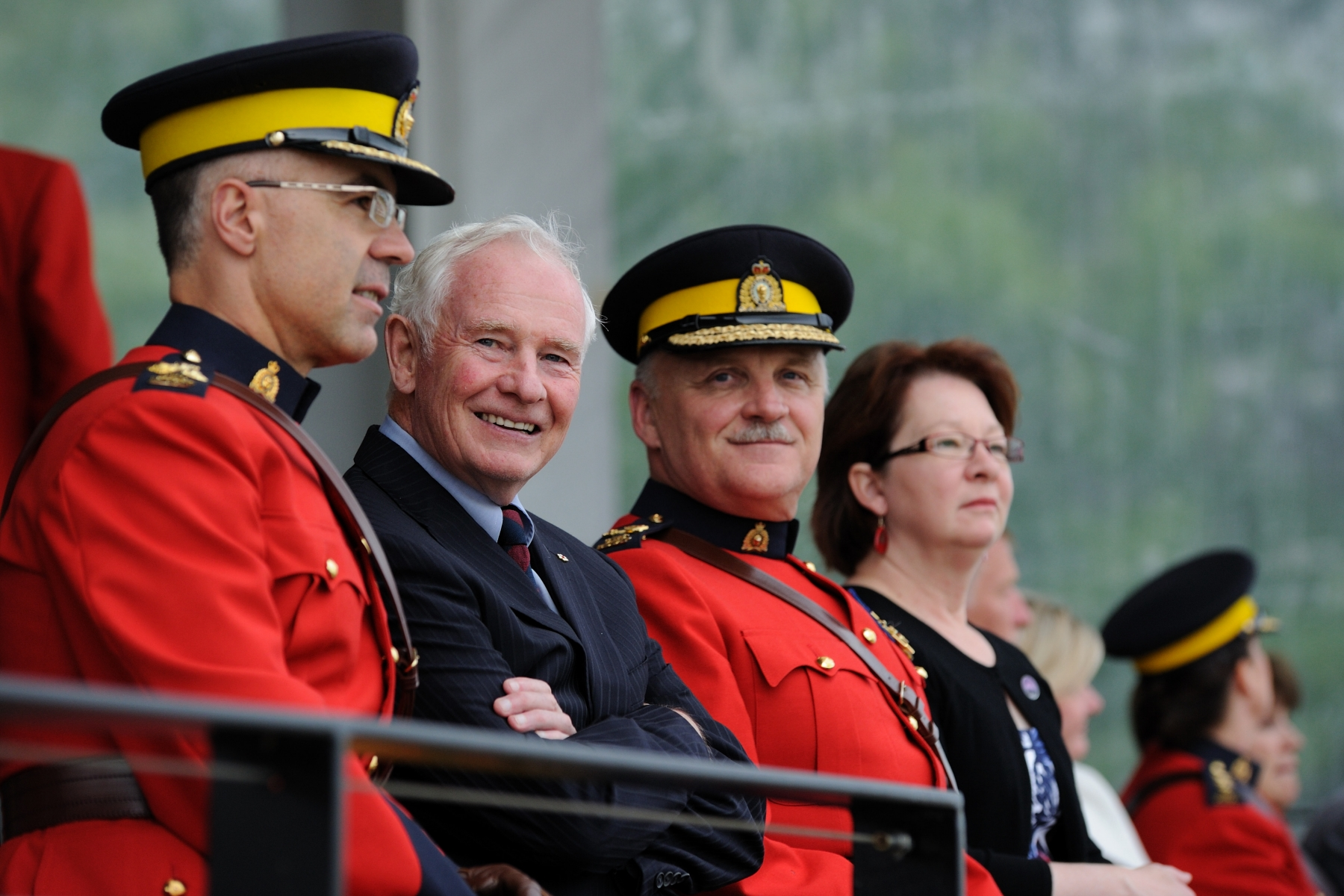 The Governor General attended the annual Canadian Sunset Ceremonies featuring the Royal Canadian Mounted Police Musical Ride. His Excellency was accompanied by Deputy Commissioner Steve Graham (right), Deputy Commissioner East.
