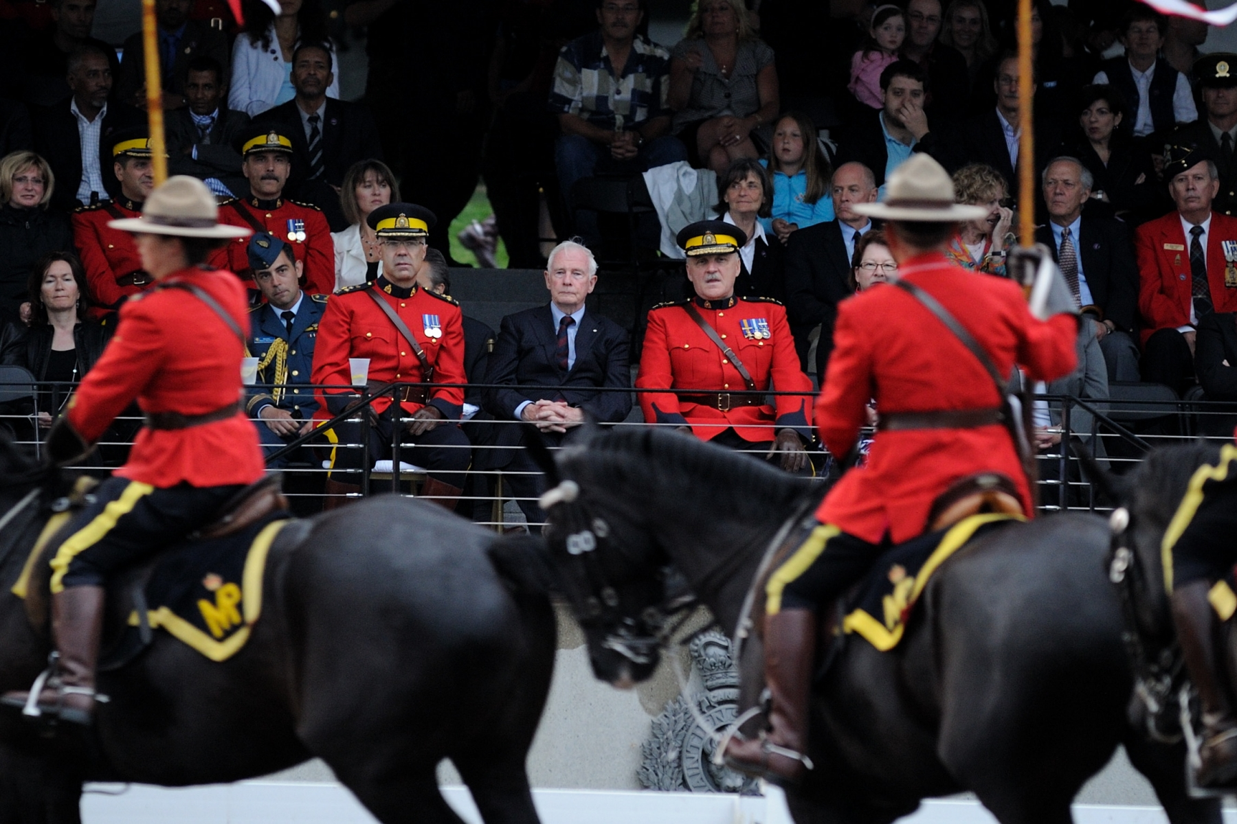 "Since 1988, the Canadian Sunset Ceremonies are an annual event, offering the RCMP a way of thanking the community for its support, as well as means of providing the public with an opportunity to see the Musical Ride. The 2011 theme of the performance is ""Celebrating Milestones in the Policing Community."""