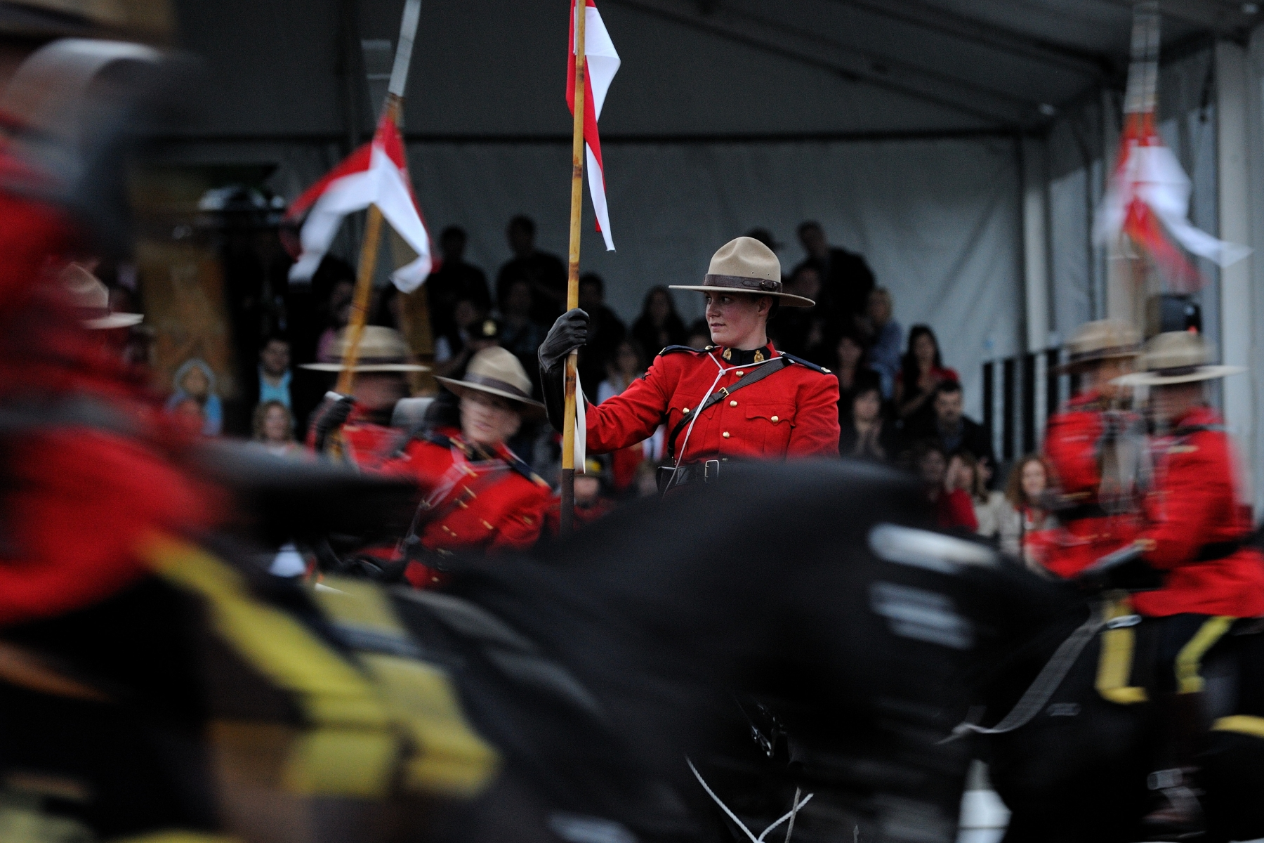 Representing a colourful tradition and ceremony through the horse and the scarlet uniform, the RCMP created a spectacle known around the world as the Musical Ride. The Musical Ride provides Canadians, from coast to coast, with the opportunity to experience part of our heritage and national identity.