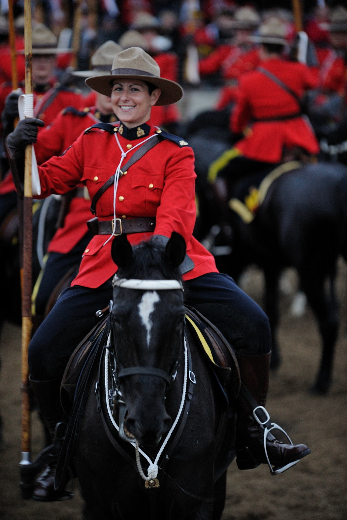 Members of the Musical Ride are, first and foremost, police officers who, after at least two years of active police work, volunteer for duty with the Musical Ride. Most members are non-riders prior to their equestrian training with the RCMP; however, once they complete the courses of instruction, they not only become riders but ambassadors of goodwill.