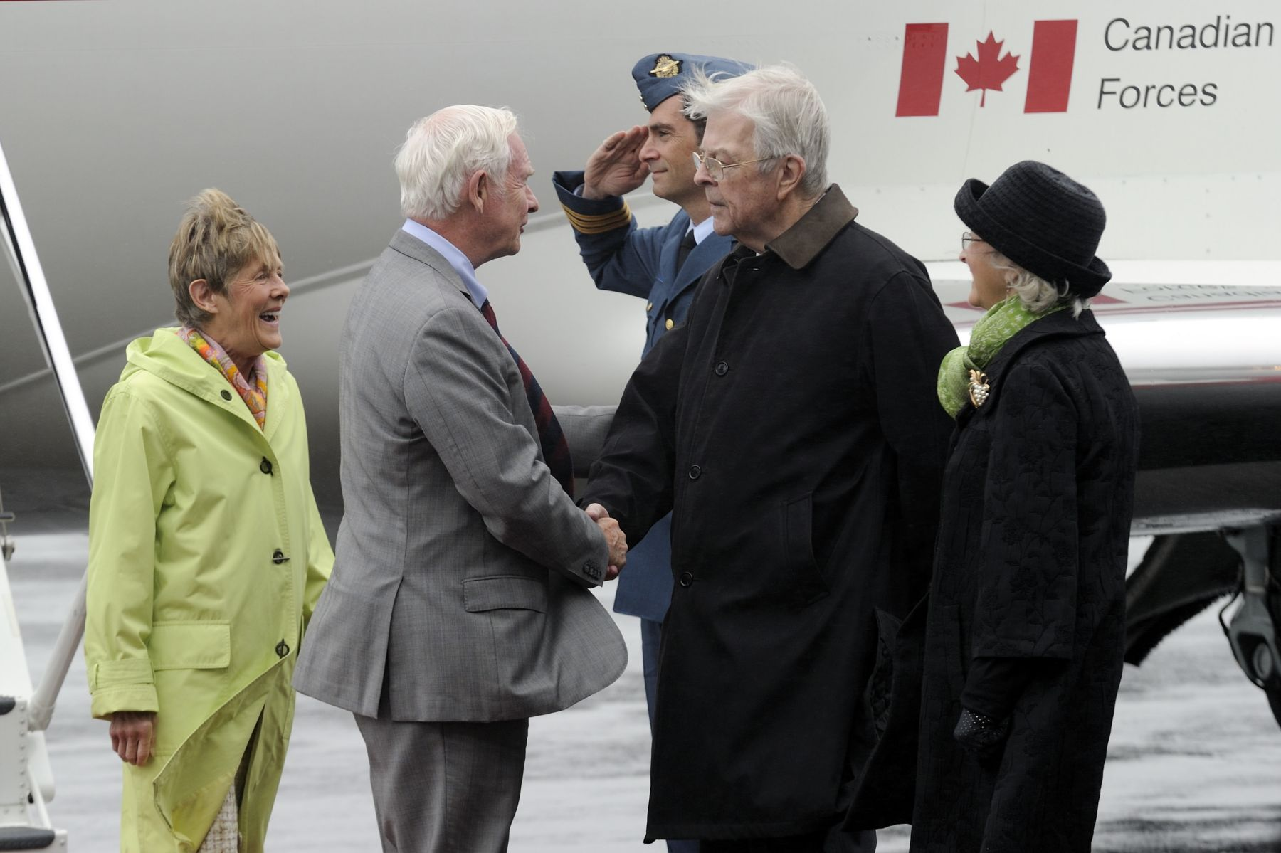 Upon their arrival in St. John's, Their Excellencies were greeted by Their Honours the Honourable John Crosbie, Lieutenant Governor of Newfoundland and Labrador, and his wife Mrs. Jane Crosbie.