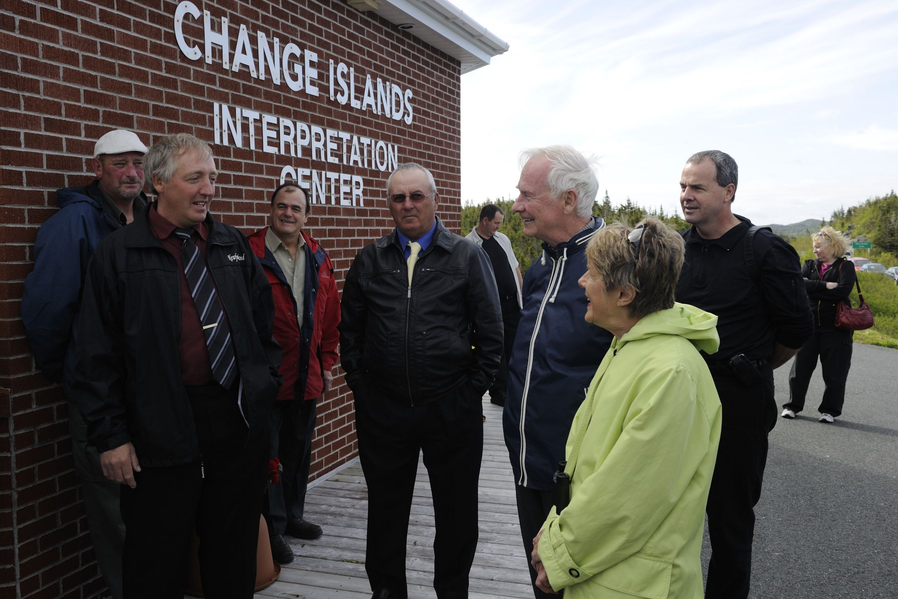 Upon their arrival in Change Islands, Their Excellencies met with His Worship Stephen Brinson, Mayor of the town, and councillors for an overview of the history of the island. Their first stop was at the Interpretation Centre.