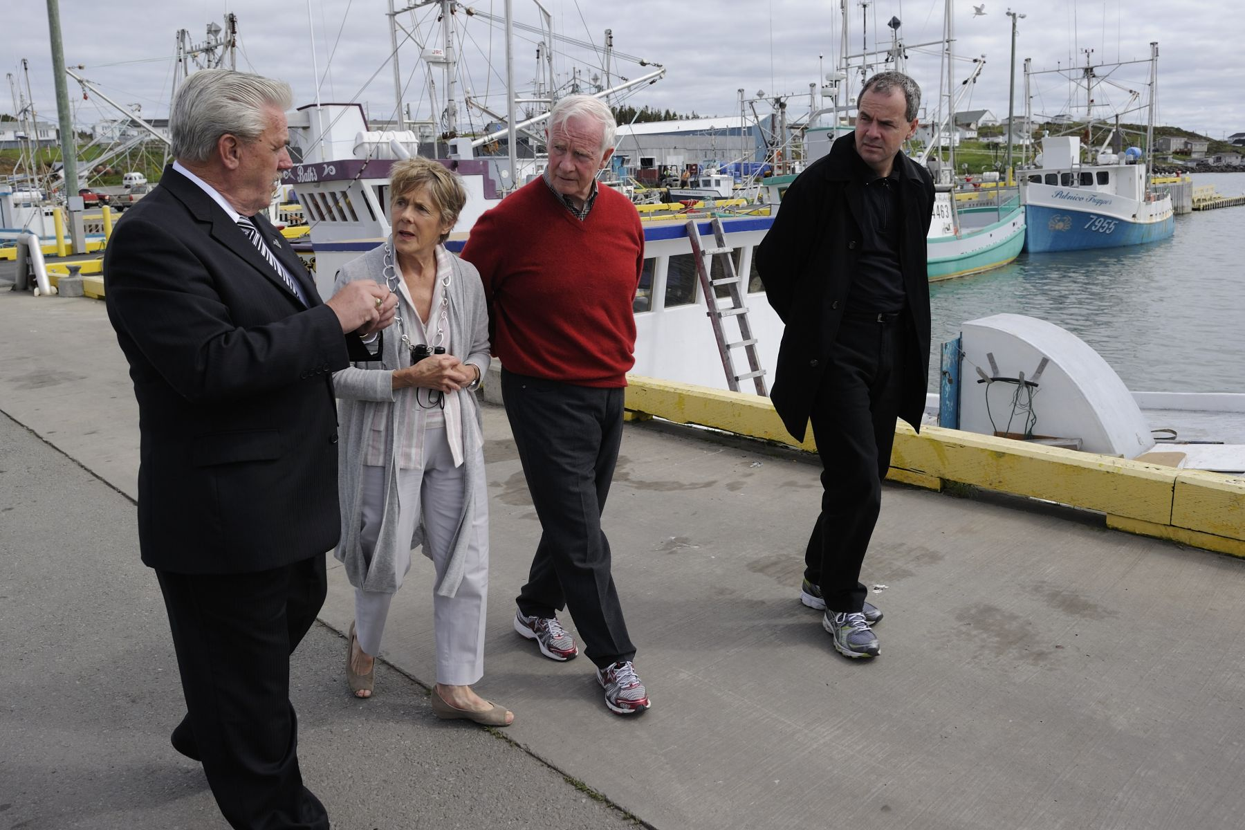 They also visited the harbour-wharf with His Worship Gordon Noseworthy, Mayor of Twillingate (left), to learn about the evolution of fisheries in the region.