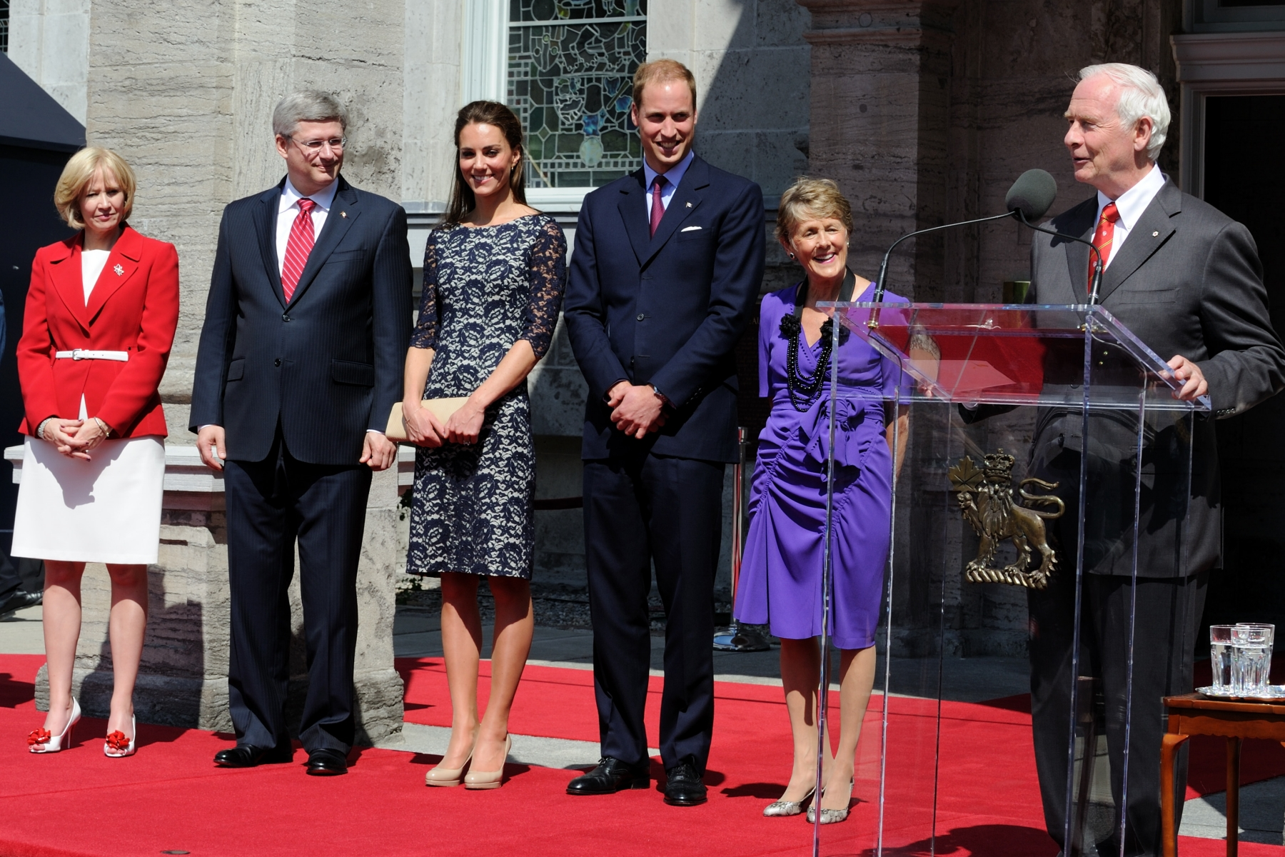 "The Governor General delivered a speech: ""It is a great pleasure for my wife, Sharon, and me to welcome Your Royal Highnesses to Rideau Hall and to Canada. We are delighted to see you again, and to have the opportunity to revisit our memories of your magnificent wedding last spring. It was a privilege to represent all Canadians on that memorable day, and it is an honour to greet you today on your first official tour as a married couple."""