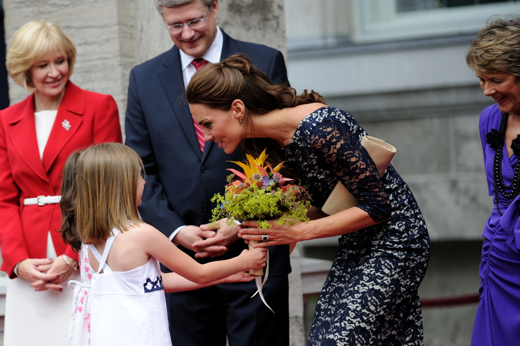 The ceremony concluded with Aurélie Thibault from Chelsea, Quebec, who presented flowers to Her Royal Highness.