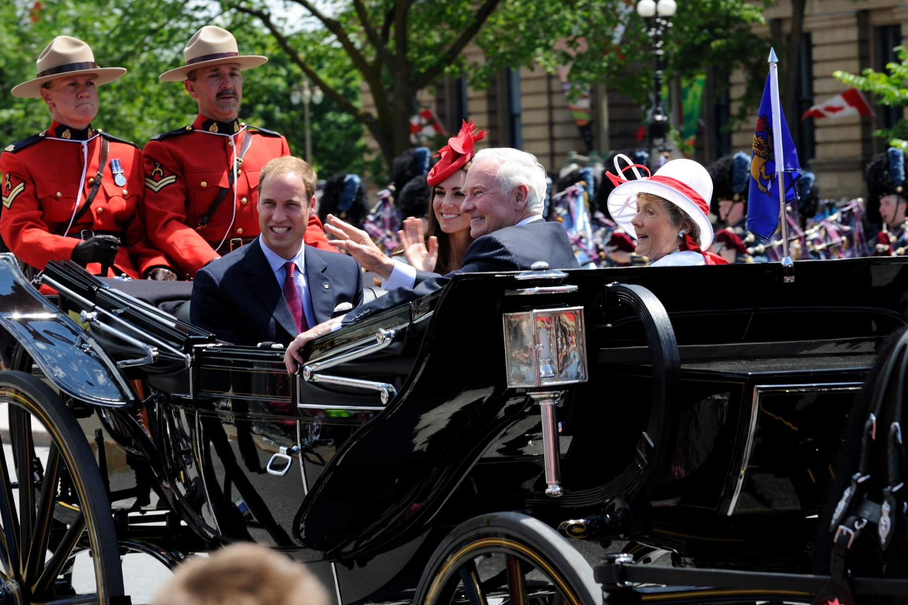 Their Royal Highnesses along with Their Excellencies the Right Honourable David Johnston, Governor General of Canada, and Mrs. Sharon Johnston arrived by landau on Parliament Hill.