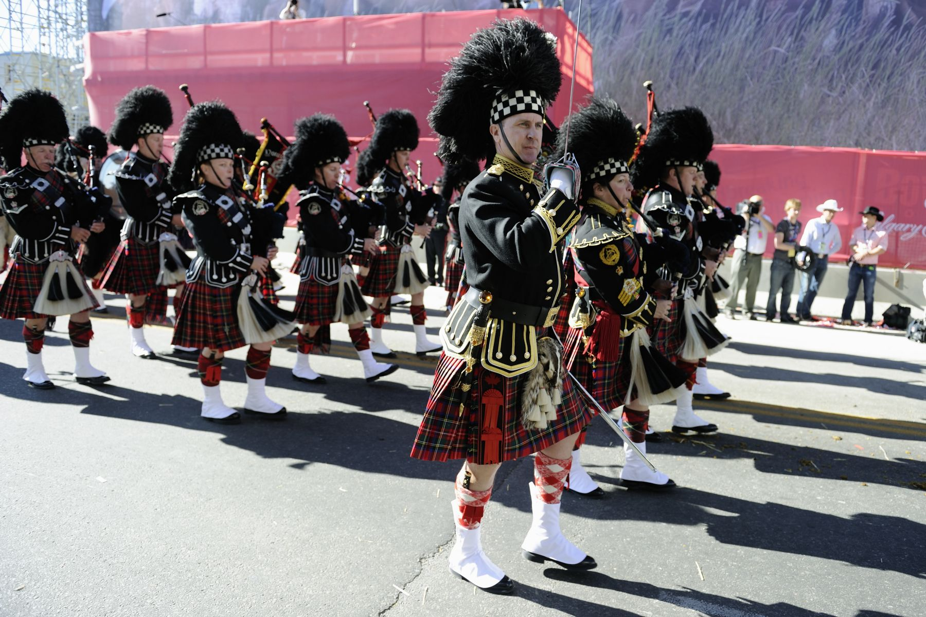 Pipers entertained the crowds gathered in the streets of the City of Calgary.
