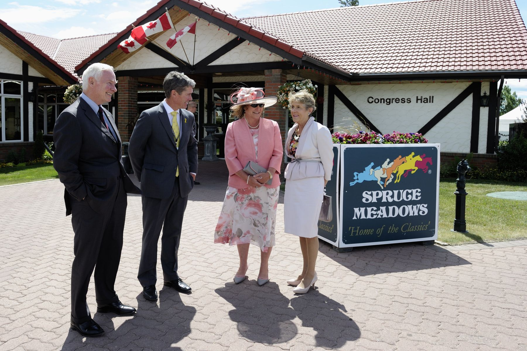 Upon their arrival at Spruce Meadows, Their Excellencies the Right Honourable David Johnston, Governor General of Canada, and Mrs. Sharon Johnston were greeted by Mrs. Linda Heathcott, Spruce Meadows President, and her husband Mr. Tom Heathcott.