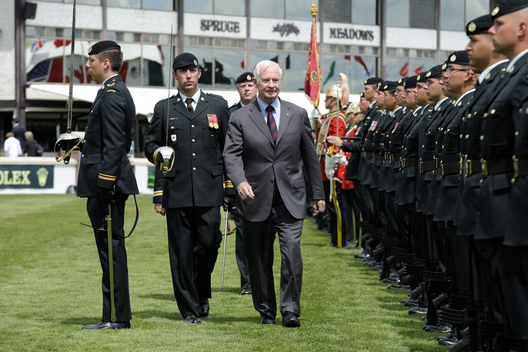 The Governor General also conducted an inspection of a guard of honour.