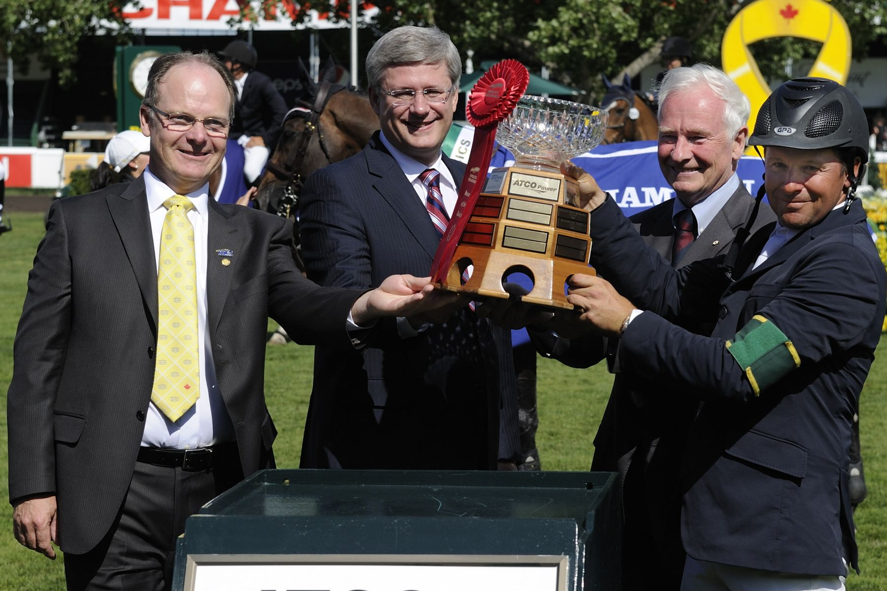 The Governor General and Prime Minister presented the Queen Elizabeth II Cup to this year's winner Canadian Olympic Gold Medalist at the 2008 Beijing Games Eric Lamaze.