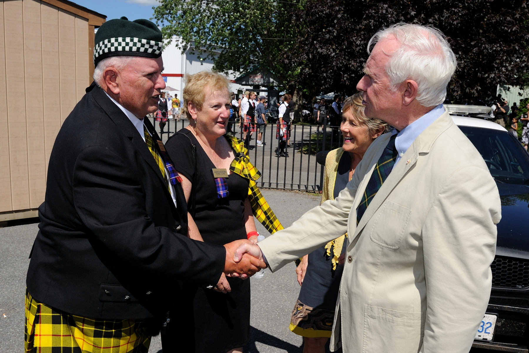 Their Excellencies were welcomed to the Games by Mr. Donaldson MacLeod, President of the Glengarry Highland Games, and his wife, Mrs. Isobel MacLeod.
