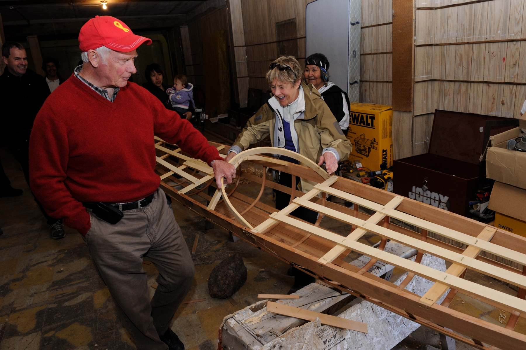 Their Excellencies had the unique opportunity to work with Elders and students on the design and construction of a sea Kayak, using traditional tools.