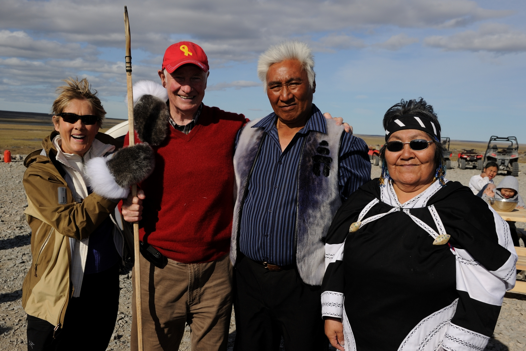 Their Excellencies were joined by His Worship Makabe Nartok, Mayor of Kugaaruk, and his spouse, Mrs. Nartok.