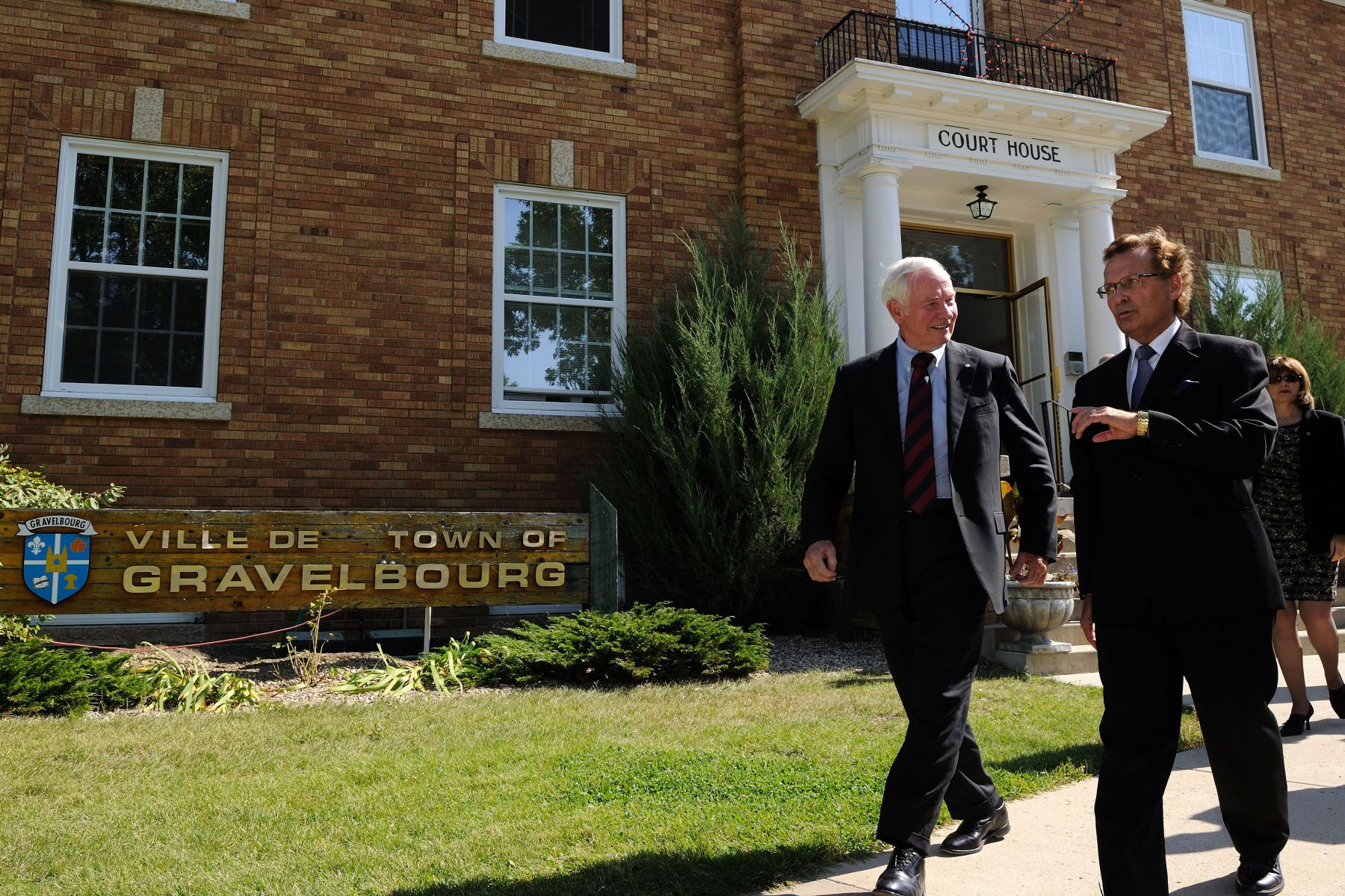 Before leaving Gravelbourg, His Excellency, accompanied by His Worship Réal Forest, conducted a tour of the town and visited the beautiful cathedral.