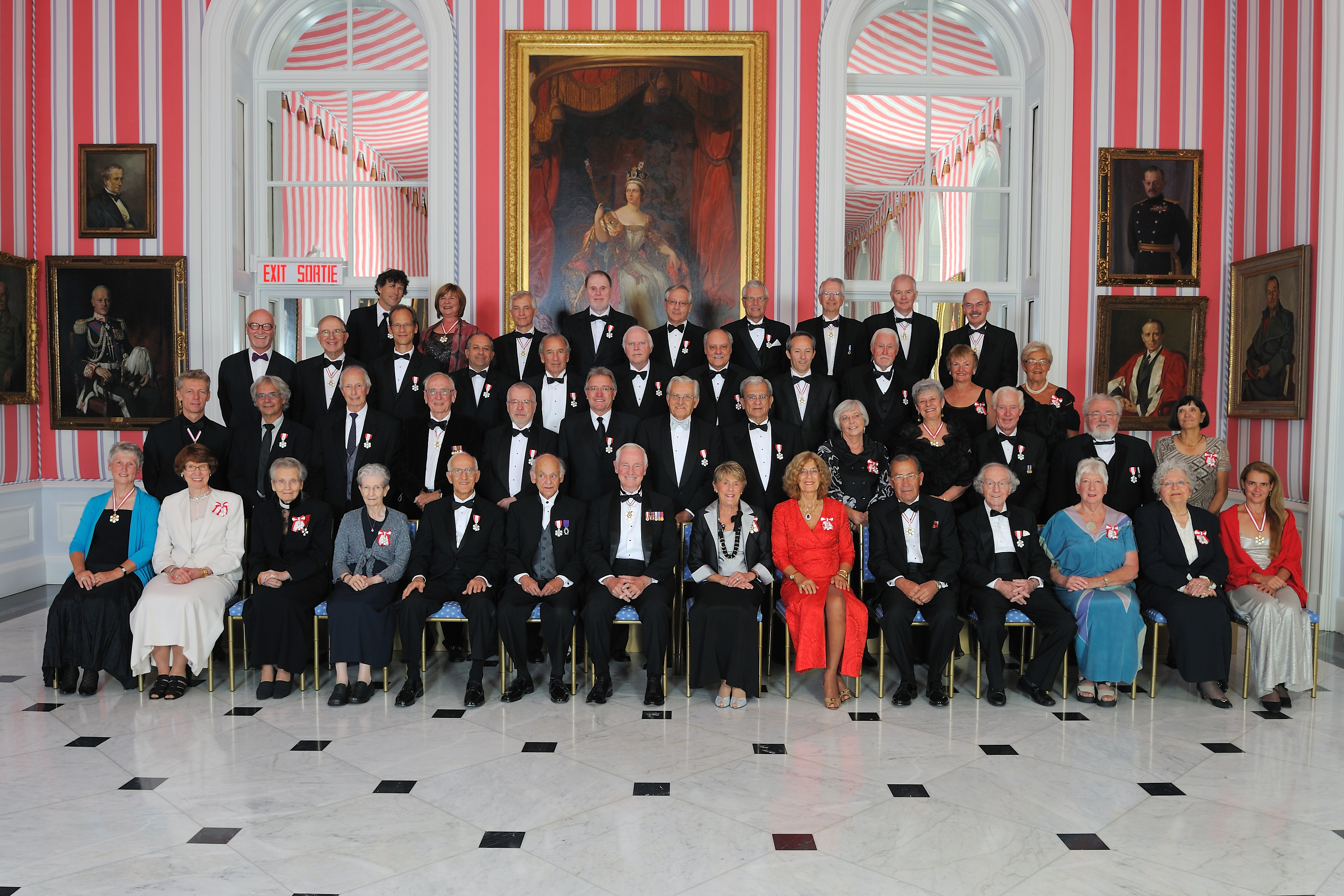 Their Excellencies are pictured with the 45 recipients that were invested into the Order of Canada on September 16, 2011.