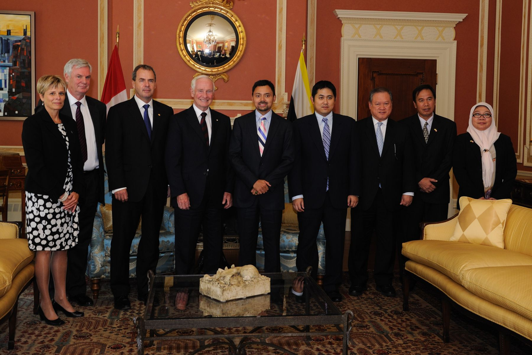 The courtesy call by His Royal Highness took place in the Large Drawing Room at Rideau Hall. Deputy Secretary of the Policy, Program and Protocol Branch at the Office of the Secretary to the Governor General Mrs. Patricia Jaton (left), Secretary to the Governor General Mr. Stephen Wallace (left to His Excellency), and members of His Royal Highness' official delegation also attended the meeting.