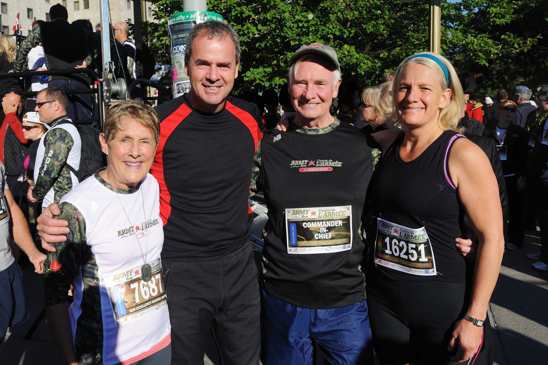 Before competing in his 21-kilometre race, His Excellency was joined by his wife (left), the Secretary to the Governor General Mr. Stephen Wallace and his daughter Debbie Johnston (right).