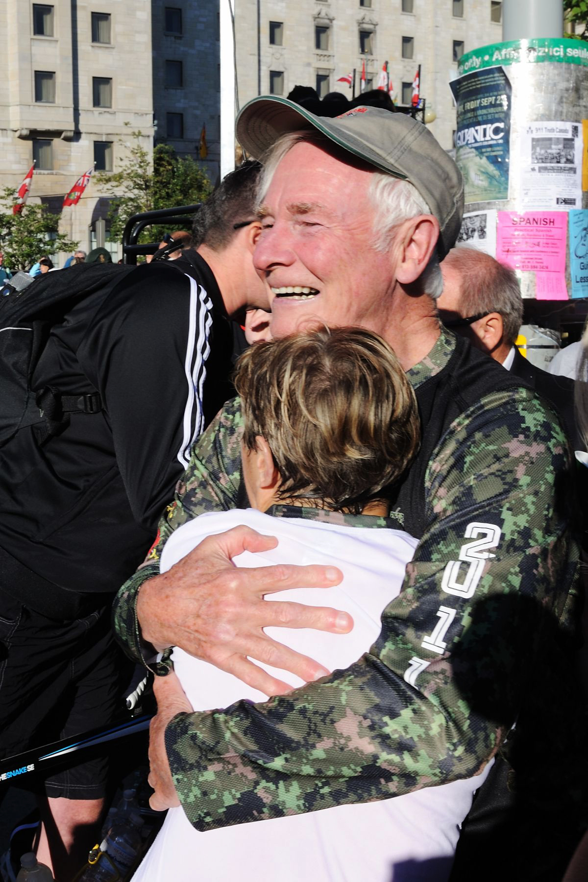 The Governor General congratulated his wife after her race.