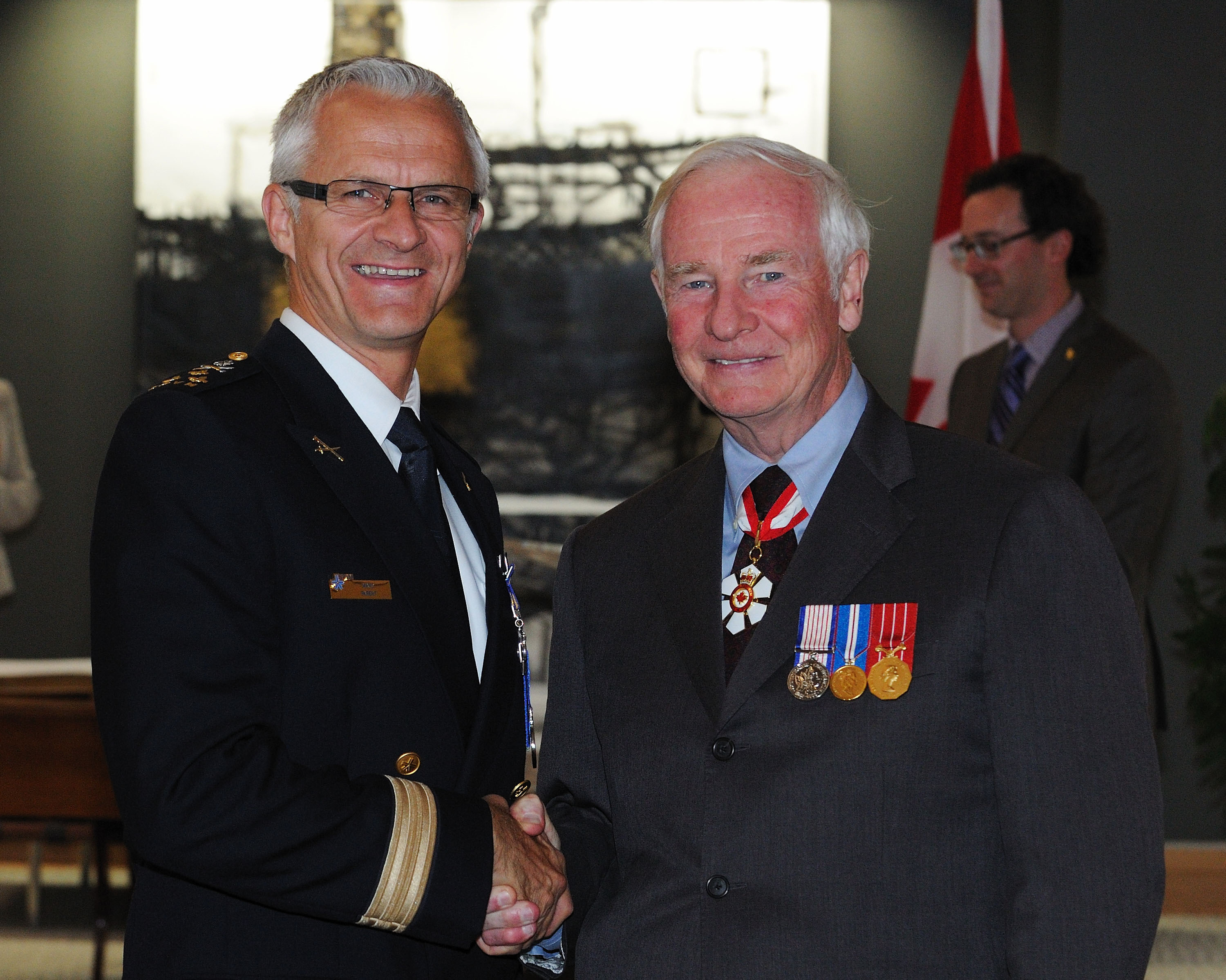 During this ceremony, Director Marc Parent, M.O.M., of the Service de police de la Ville de Montréal, was invested as Member of the Order of Merit of the Police Forces.