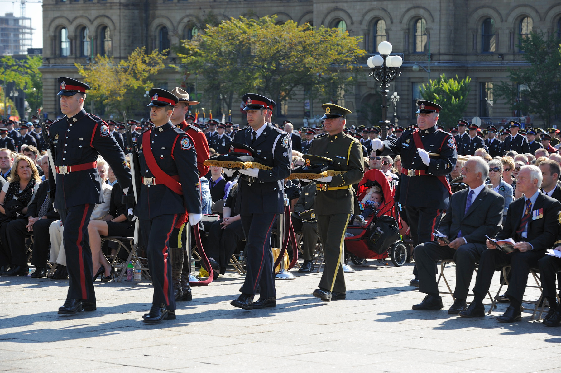 This year's memorial service honoured the following four officers whose lives were lost in the performance of their duties: Constable Garrett Styles, York Regional Police; Sergeant Ryan J. Russell, Toronto Police; Constable Sébastien Coghlan-Goyette, Sûreté du Québec; and Constable Michael B. Potvin, Royal Canadian Mounted Police.
