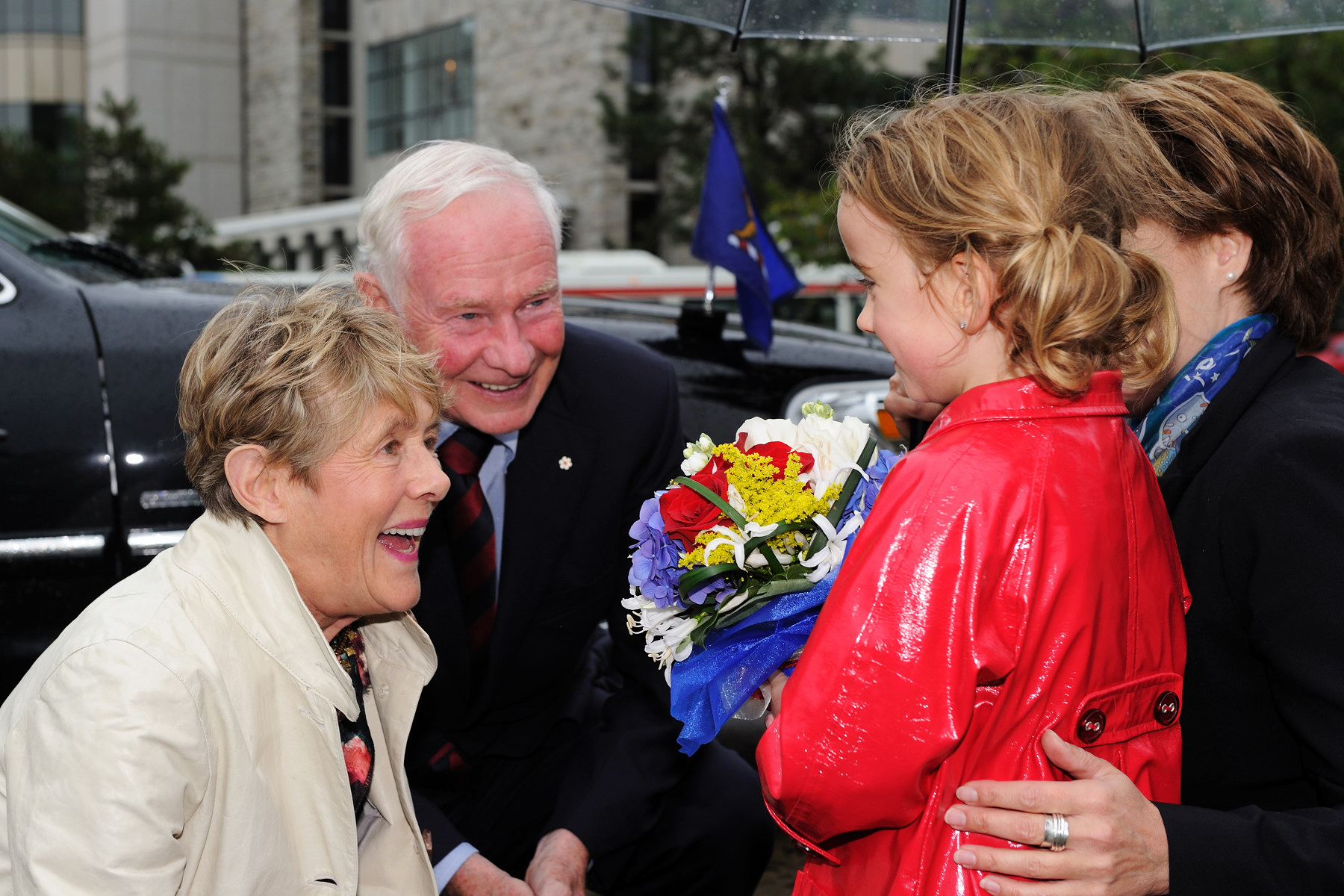 Their Excellencies were officially welcomed at the Legislative Assembly of British Columbia where they were presented with a bouquet of flowers from Daisy Irwin (age 6).