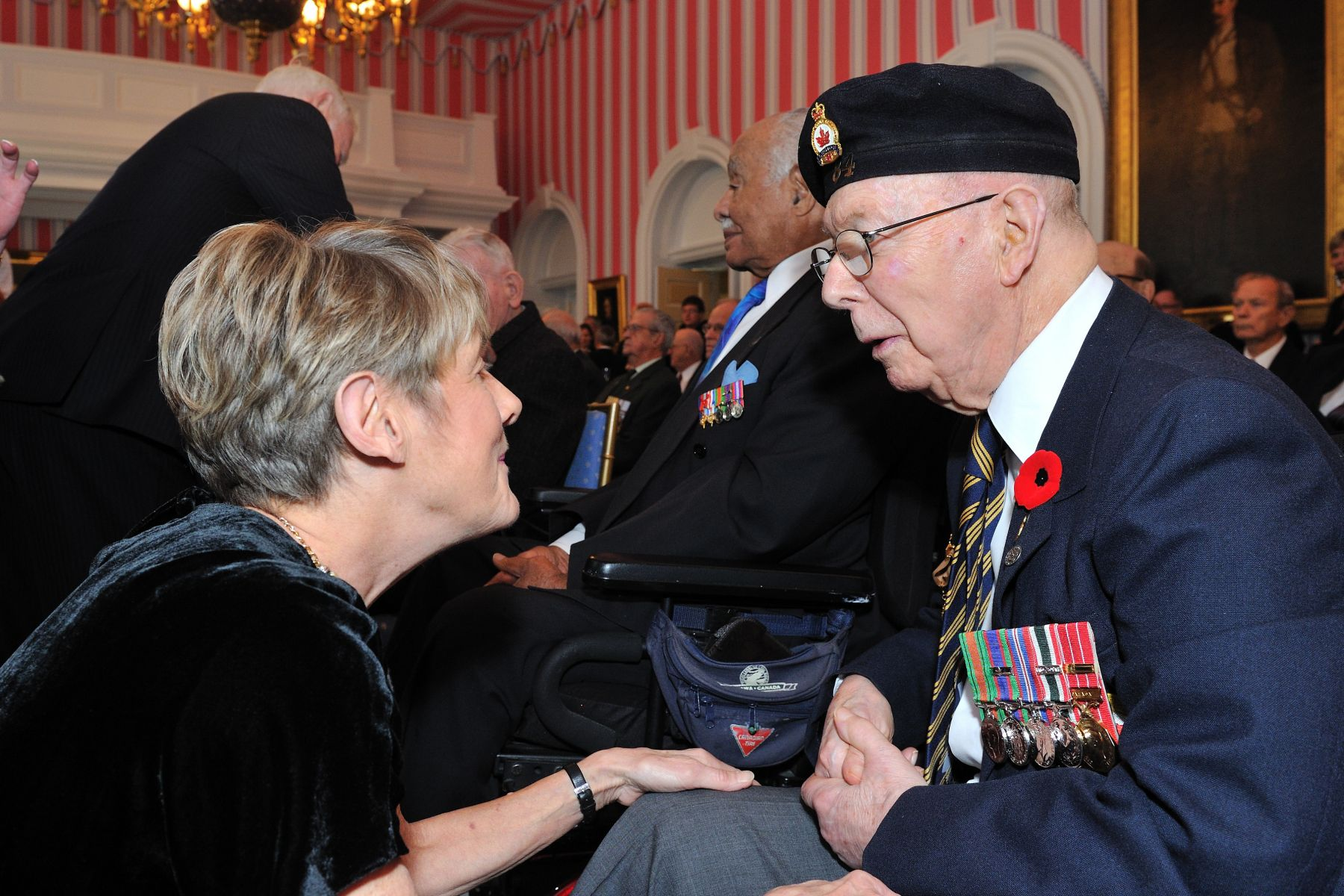 Mrs. Sharon Johnston also distributed poppies to veterans.