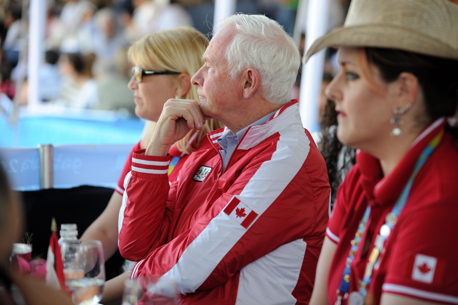 He watched very attentively as Canadian athletes performed in the finals.