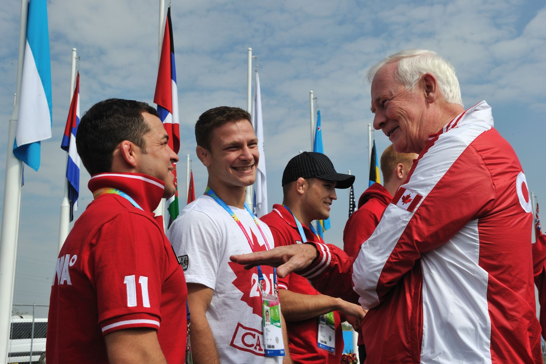 During his tour of the international zone, the Governor General met with members of Canada's Judo Team.