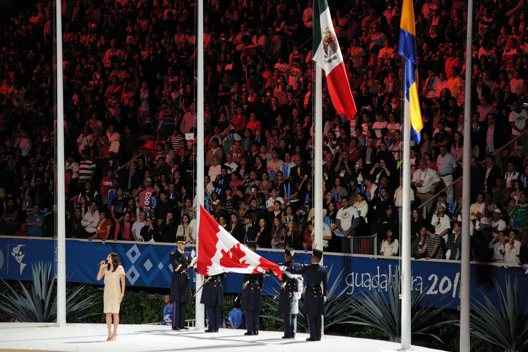 The Governor General witnessed the handover of the Pan American Games' flag to Toronto officials, as the city will host the Games in 2015