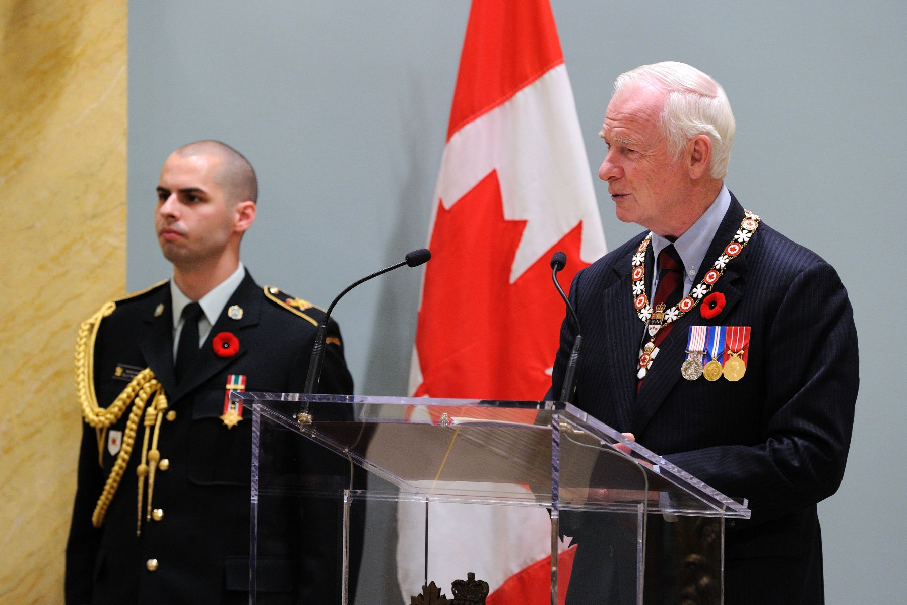 """Because at its core, the Order of Canada is about excellence, achievement, innovation, and a job more than well done,"" said His Excellency. ""Perhaps even more importantly, because its motto serves to remind us that there is still much more about which we, as Canadians, can dream, so much more that we should give and must do. For it obliges us to fight the temptation to become complacent about the responsibilities that we all have. We cannot suppose that someone else will stand up and serve. We must not assume that others will reach out and share, nor wait for another to uncover new ideas to move our country ahead."""