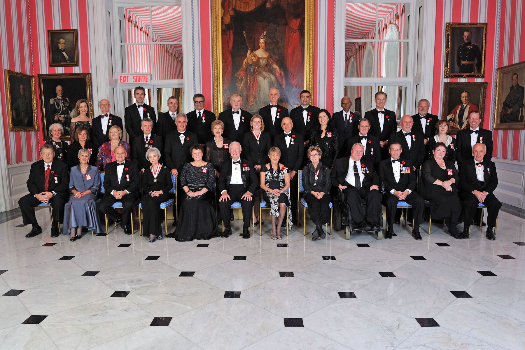 Their Excellencies are pictured with the recipients that were invested into the Order of Canada on November 4, 2011.