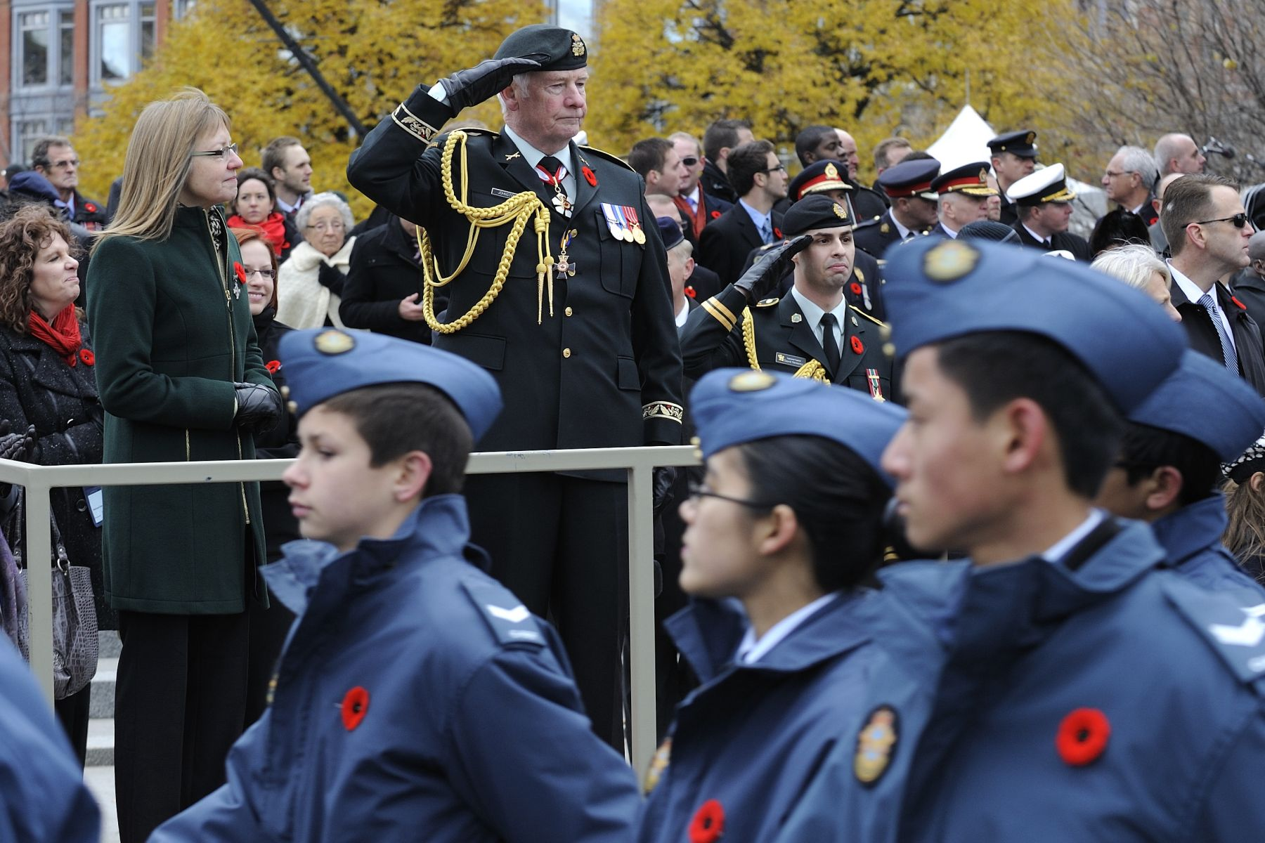 The Governor General and Commander-in-Chief of Canada saluted the members of the Canadian Forces as they marched past during the parade.